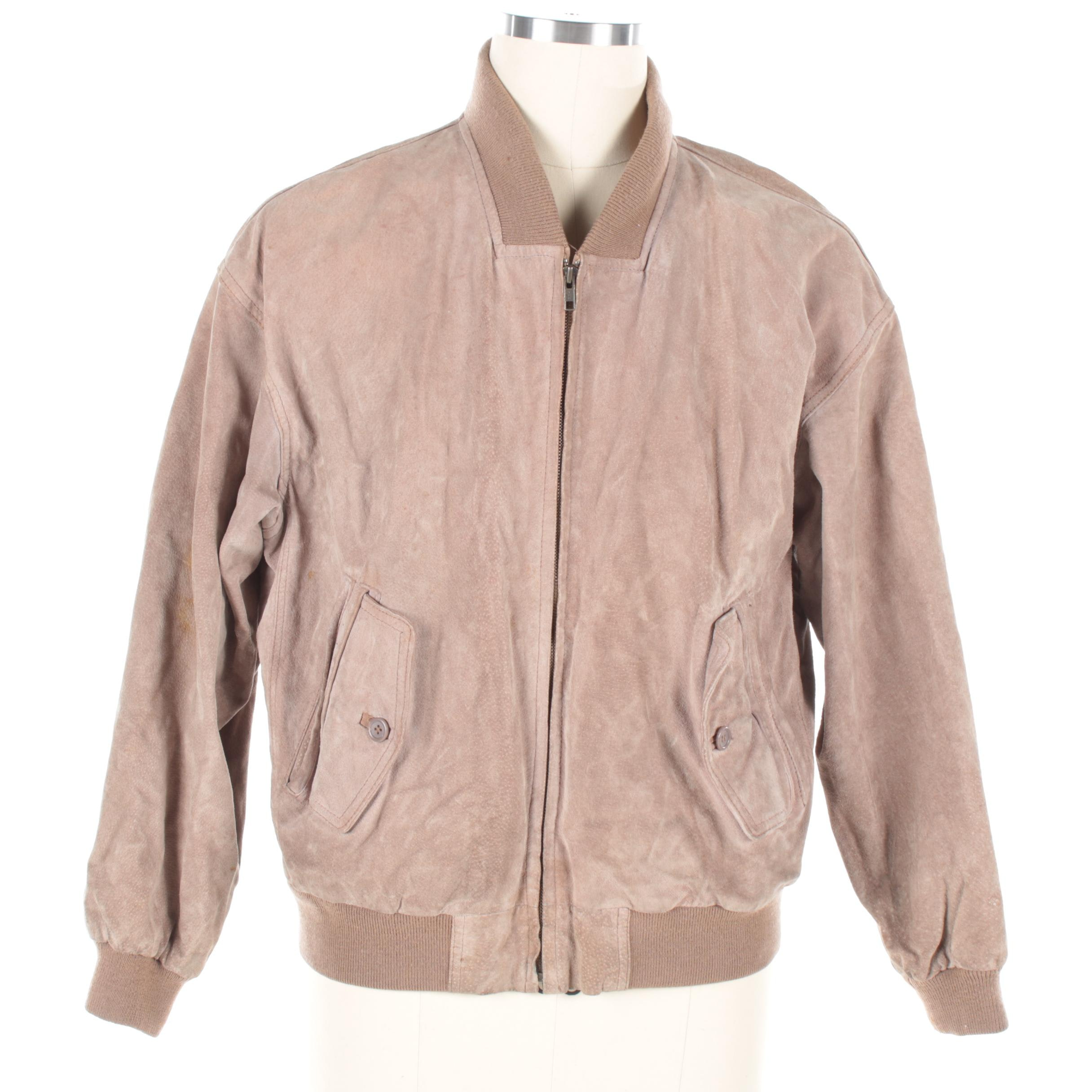 Vintage Neiman Marcus Tan Suede Bomber Style Jacket