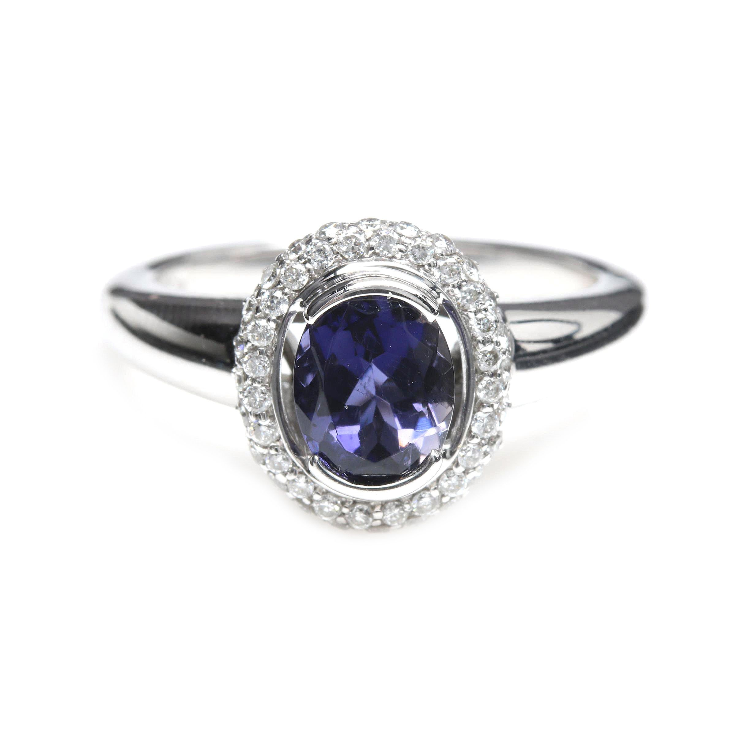 18K White Gold Iolite and Diamond Ring