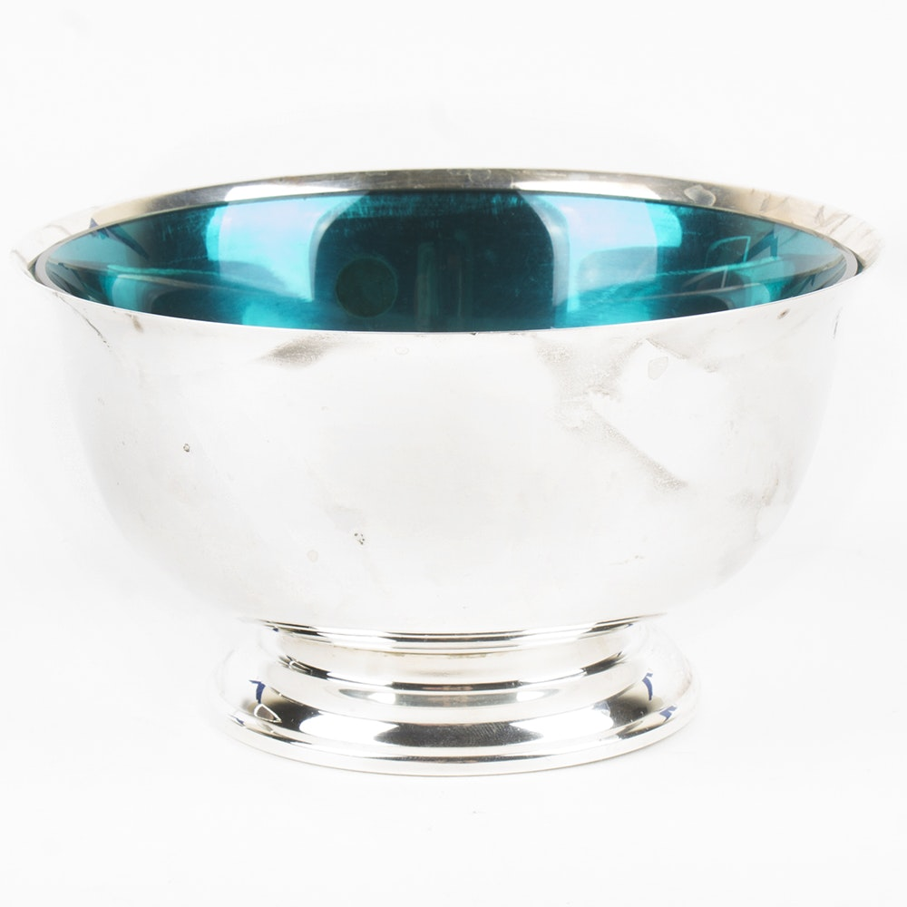 Lunt Sterling Silver Paul Revere Reproduction Bowl with Blue Glass Insert