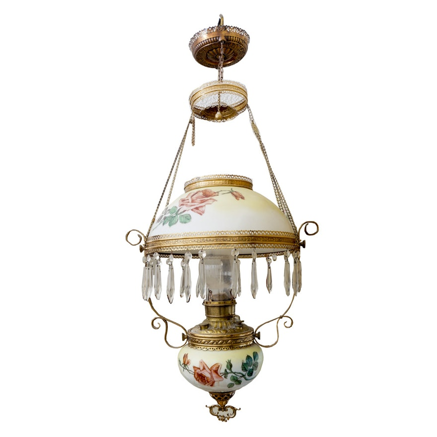 Vintage Miller Victorian Style Oil Lamp Chandelier