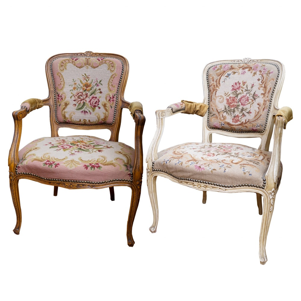 Pair of Vintage Louis XV Style Needlepoint Armchairs