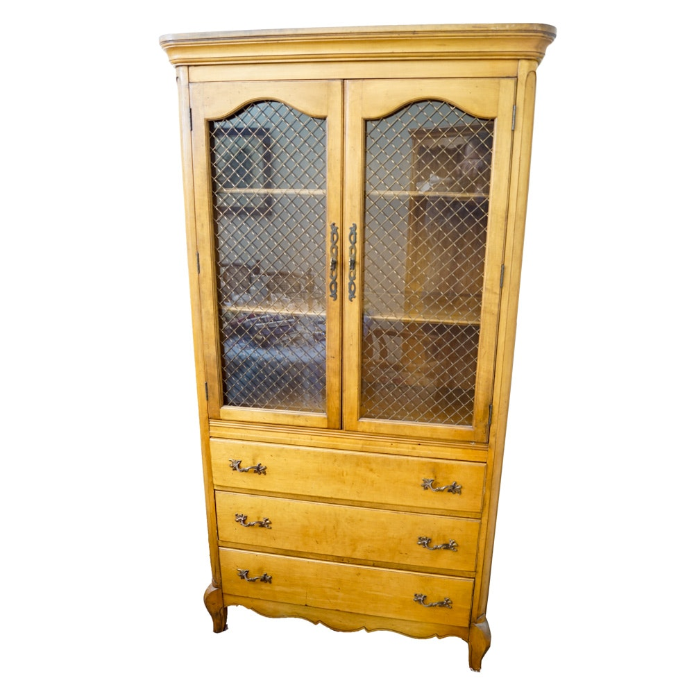 Vintage French Provencal Birch China Cabinet