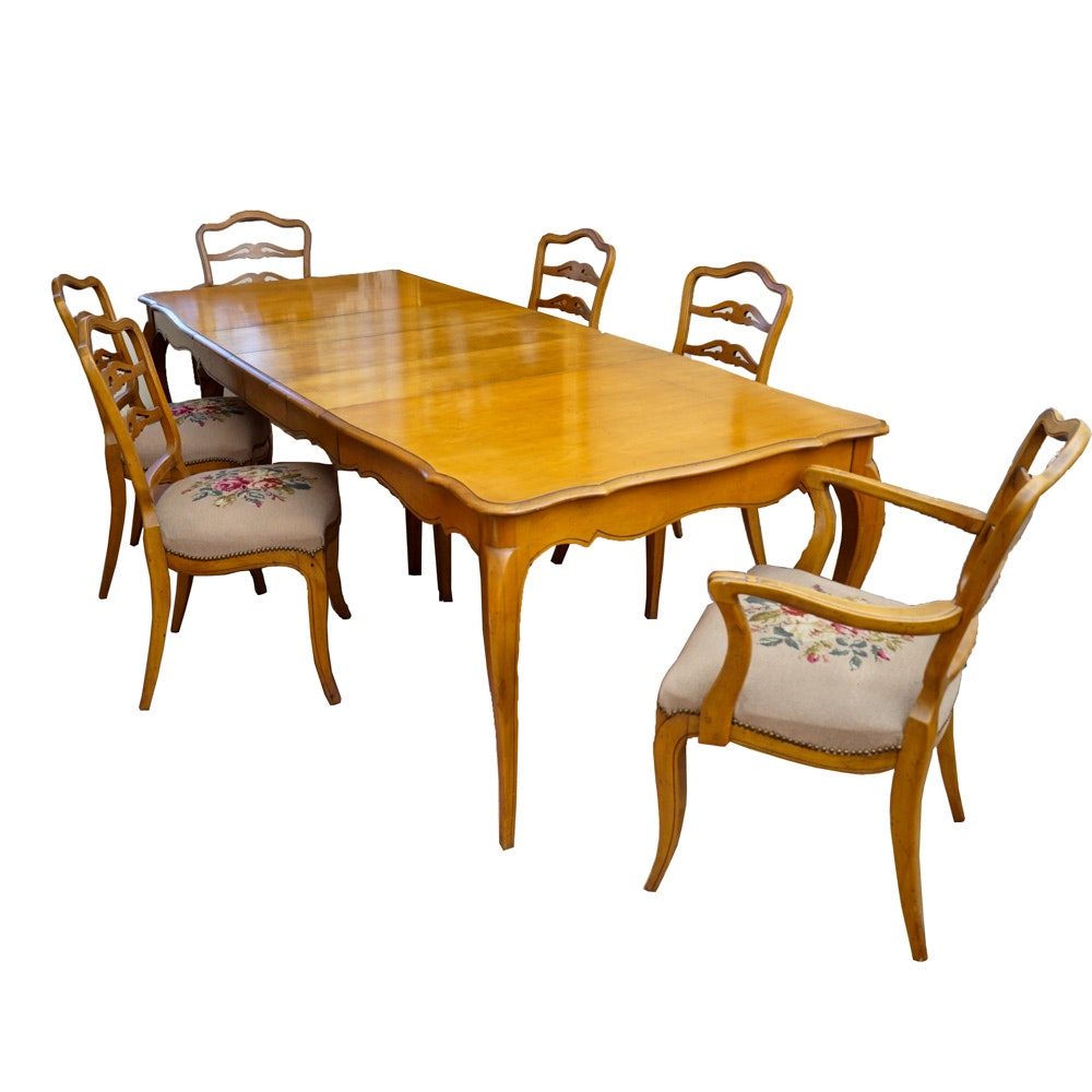 Louis XV Style Dining Table with Chairs