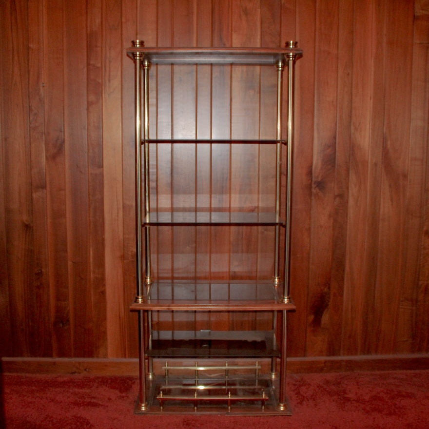 Wooden and Brass Shelf Unit with Glass Shelves : EBTH