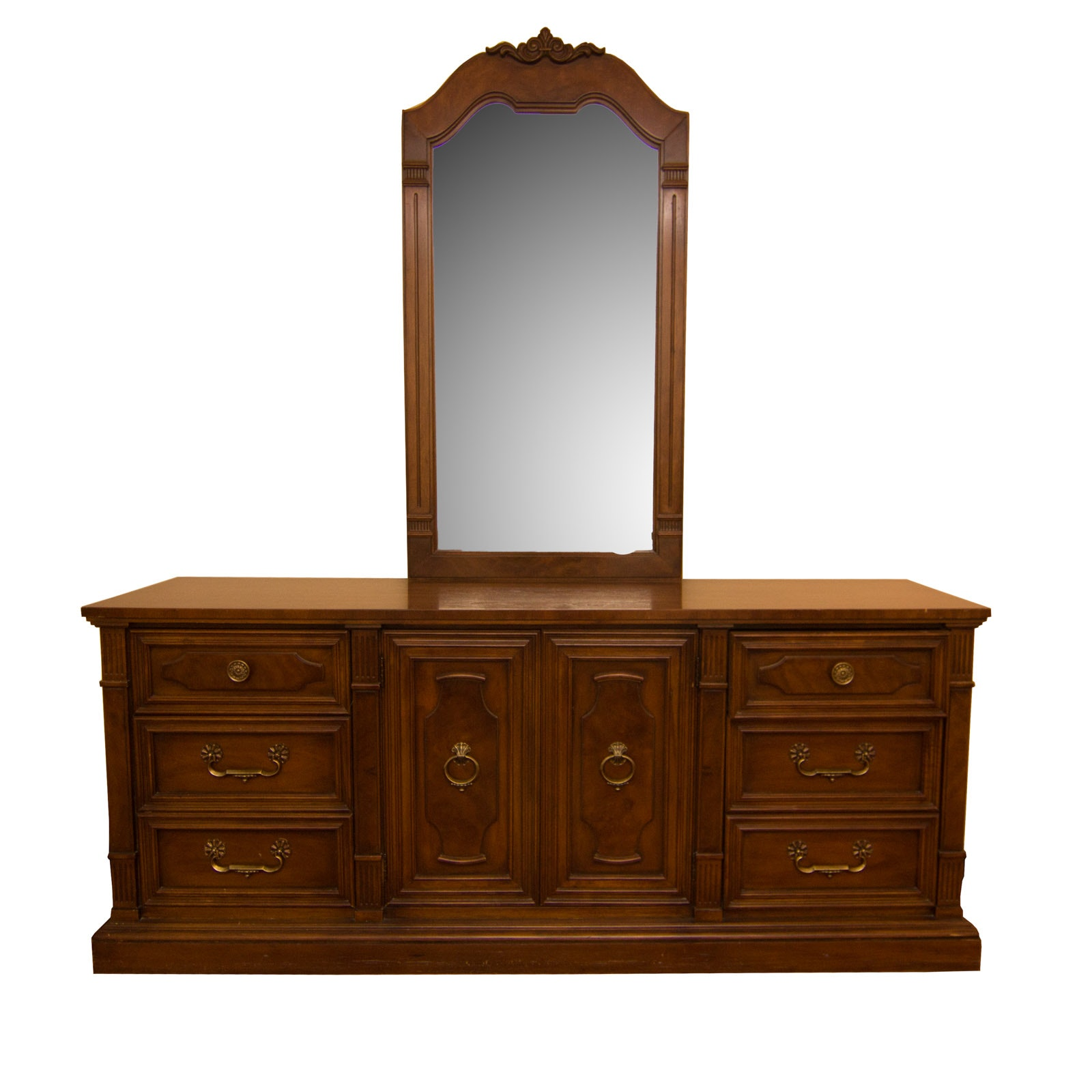 Mahogany Finished Drexel Dresser with Mirror