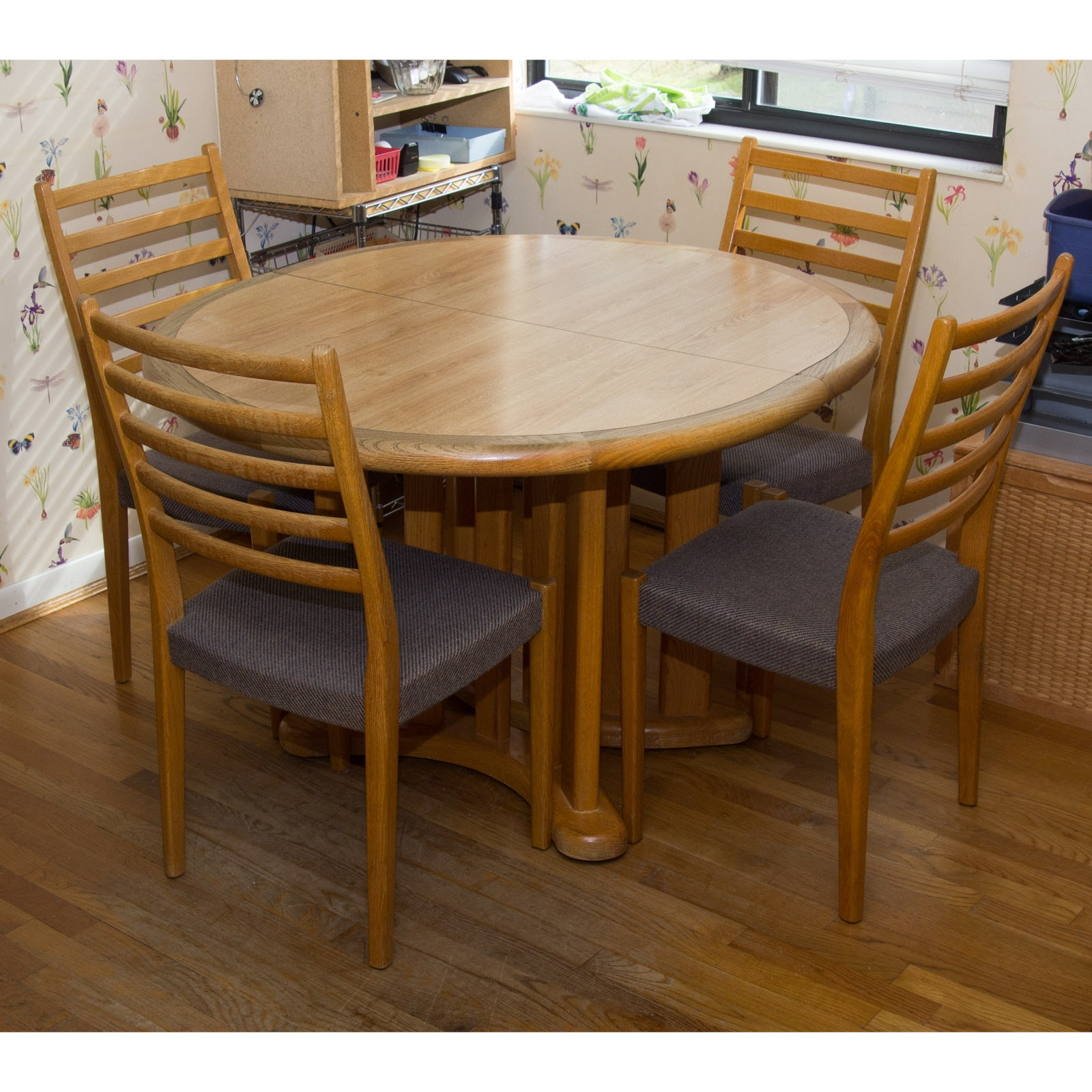 Circular Dining Table and Four Chairs