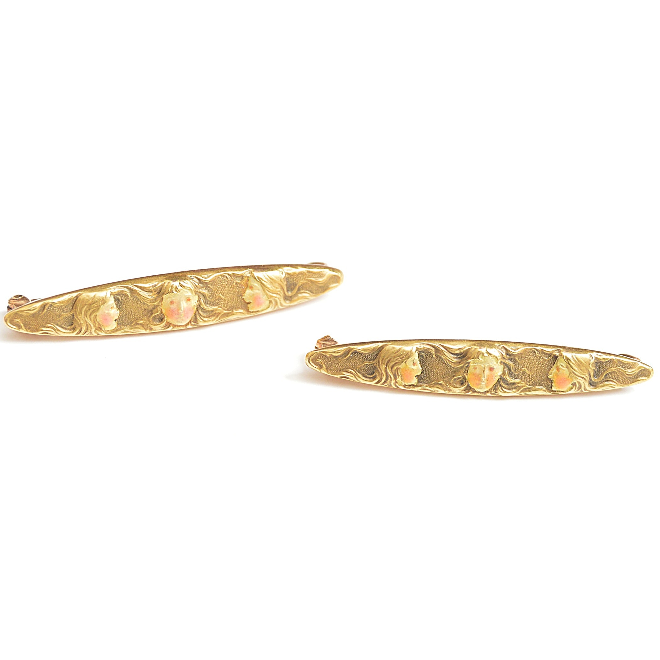 Art Nouveau 14K Yellow Gold Brooches