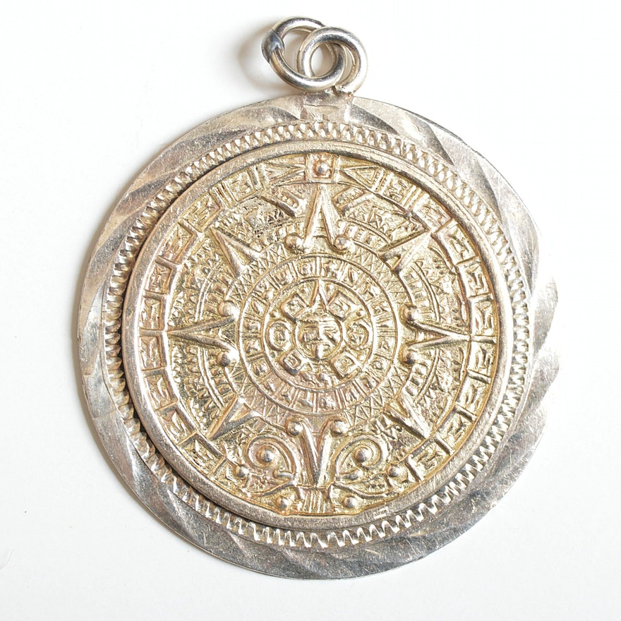 14k white gold and sterling mexican aztec calendar pendant ebth 14k white gold and sterling mexican aztec calendar pendant aloadofball Image collections