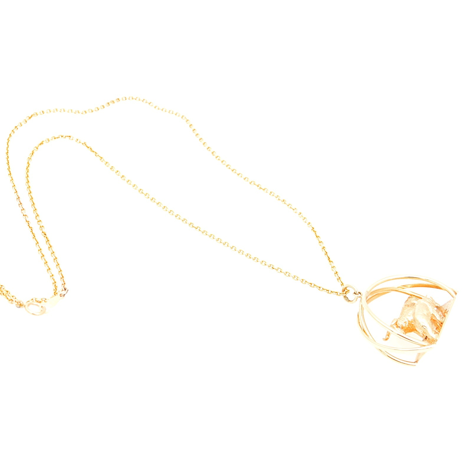 14K Yellow Gold Bull and Bear Pendant Necklace