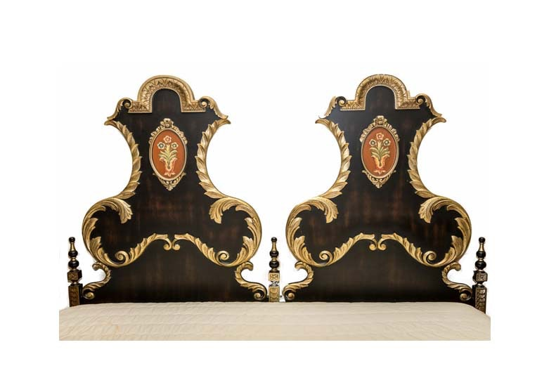 Italian Style Painted and Gilded California King Size Headboard with Bed Frame
