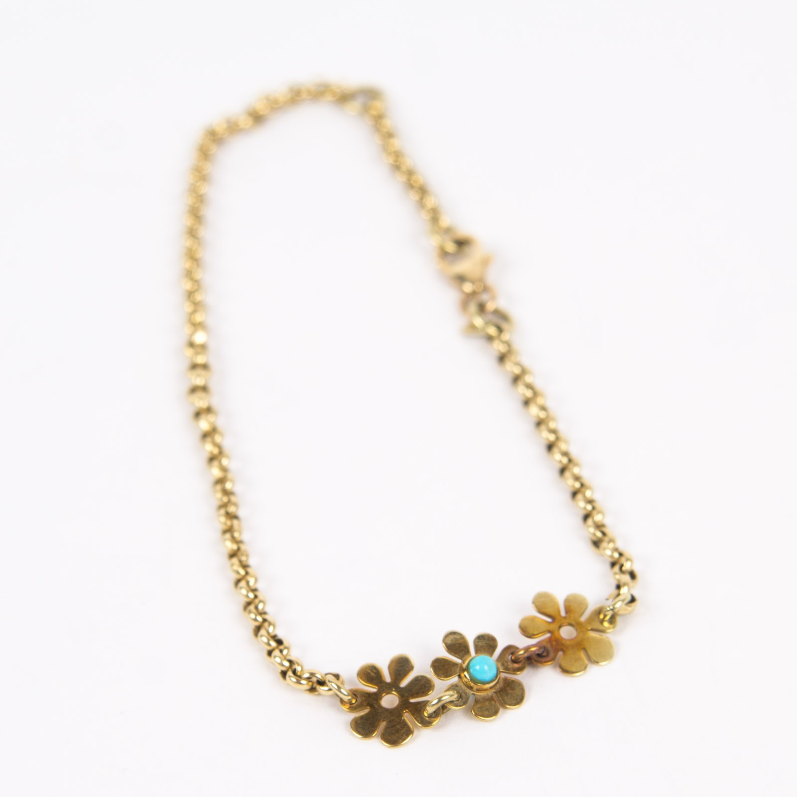 14K Yellow Gold Tennis Bracelet with Turquoise
