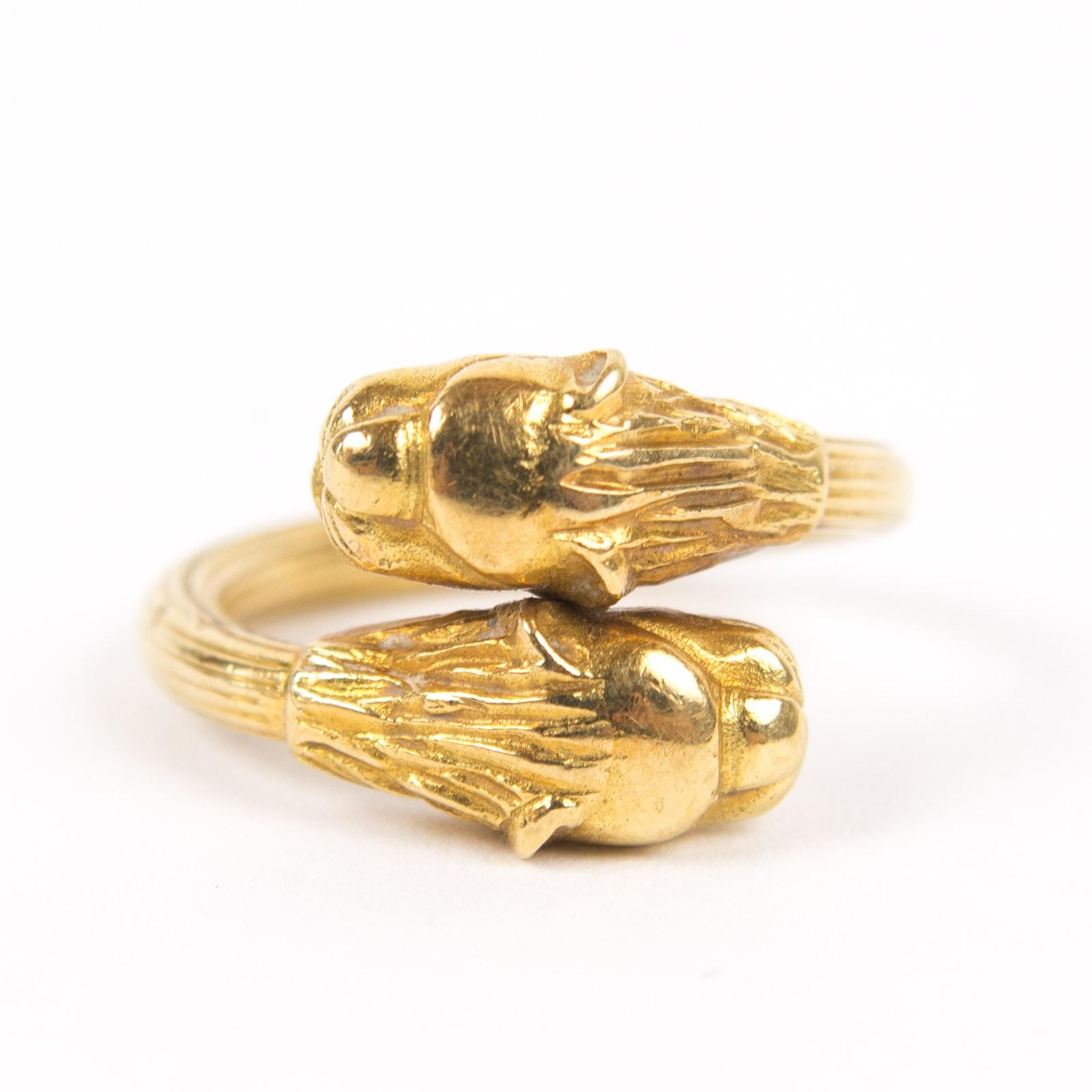18K Yellow Gold Lion Ring