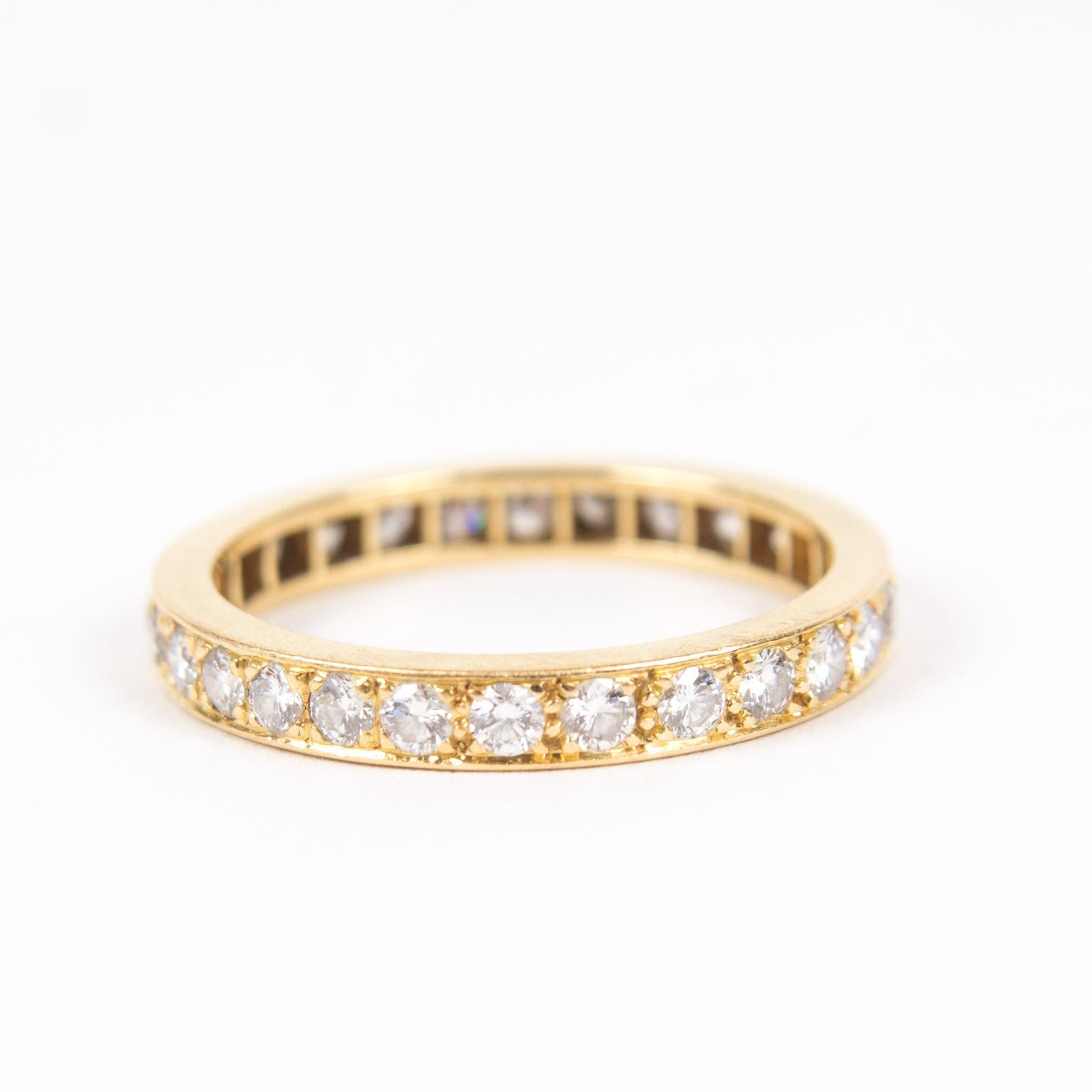 18K Yellow Gold and 1.05 CTW Diamond Eternity Ring