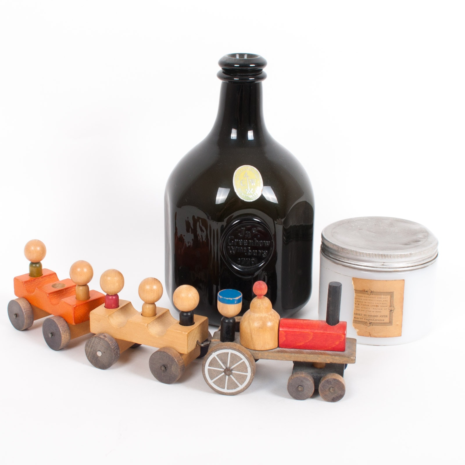 Williamsburg Bottle Harriet Hubbard Ayer Jar and Folk Art Wood Train