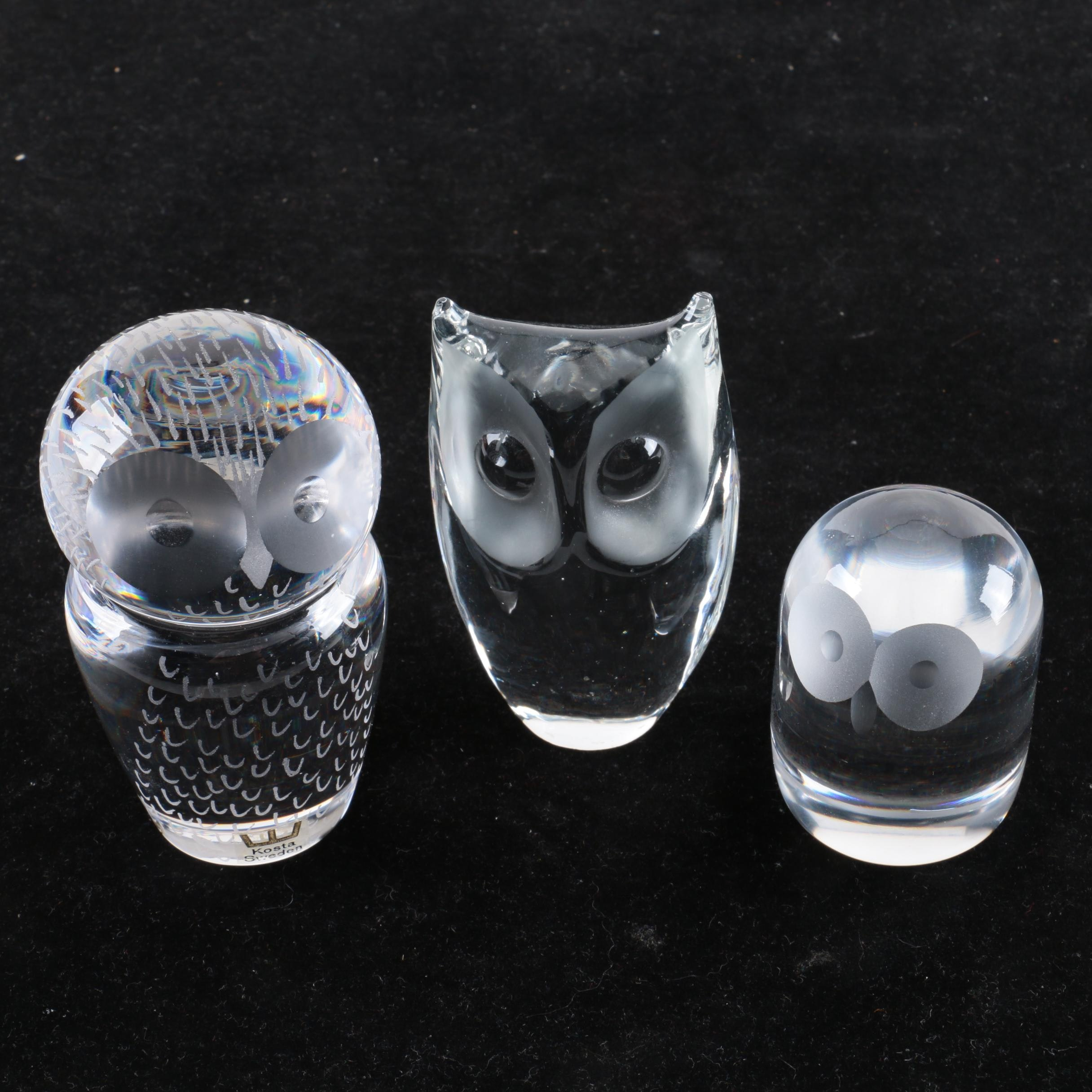 owl office decor. Vintage Kosta Crystal And Art Glass Owl Paperweights Office Decor T