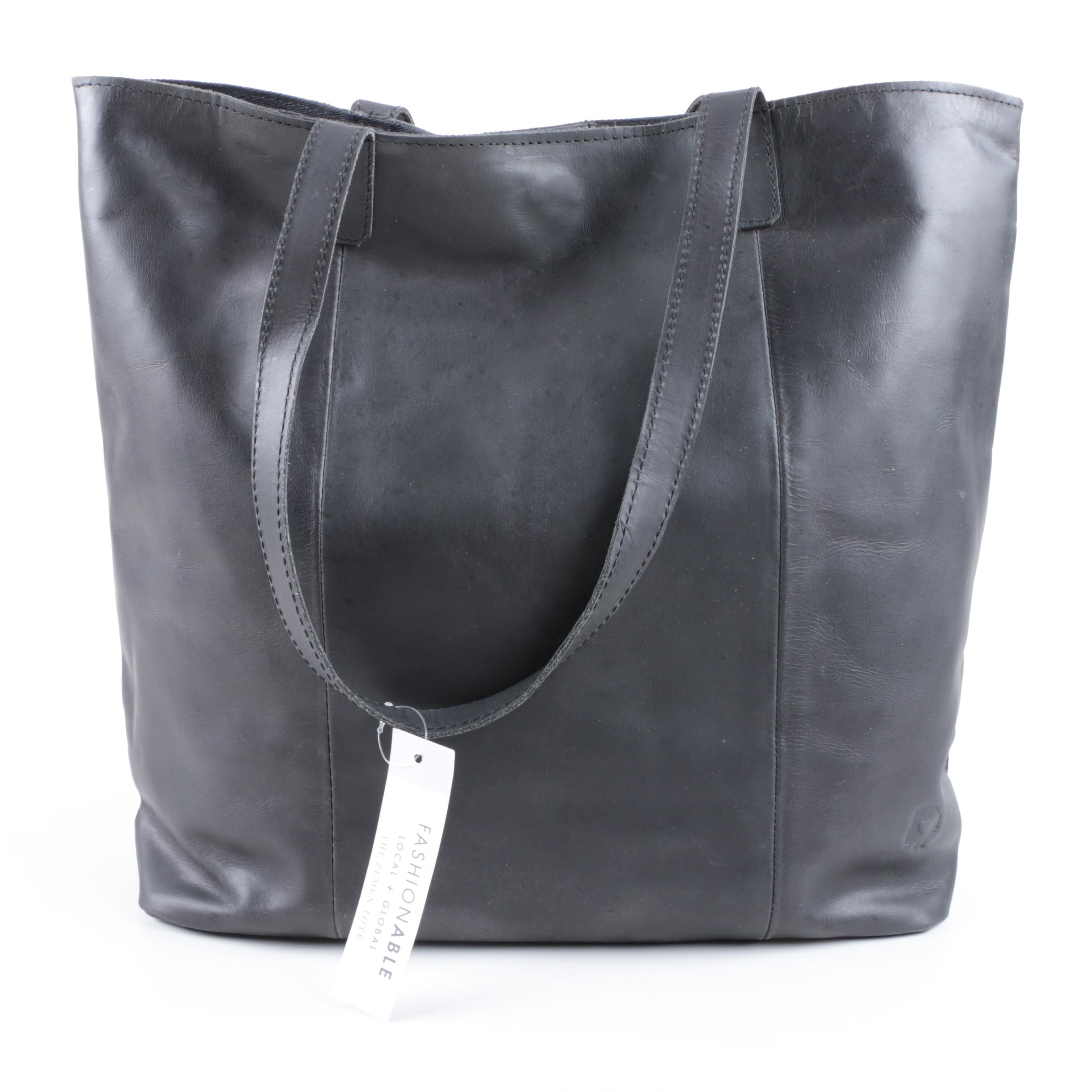 Fashionable Local + Global Black Leather Tote