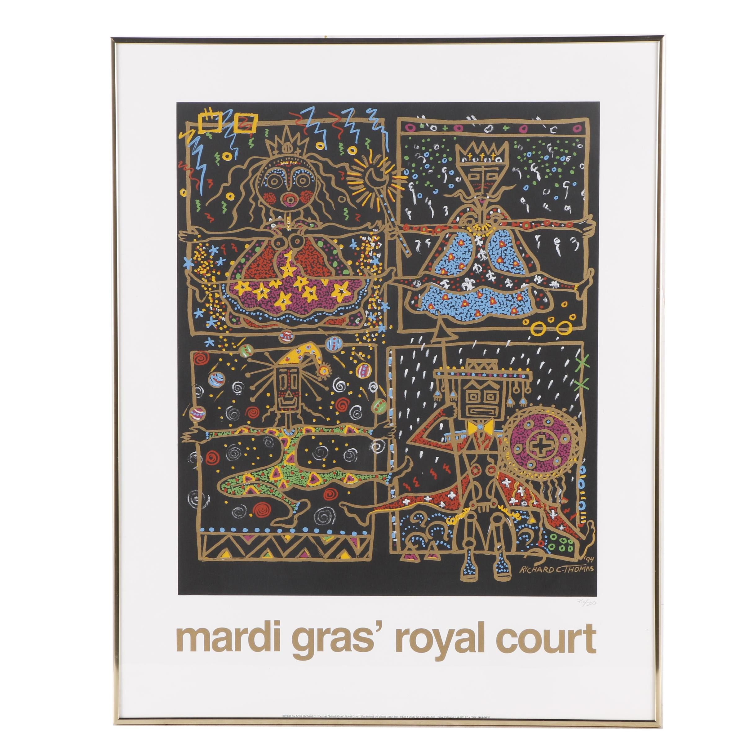 1994 Serigraph after Richard C. Thomas Mardi Gras Royal Court Poster