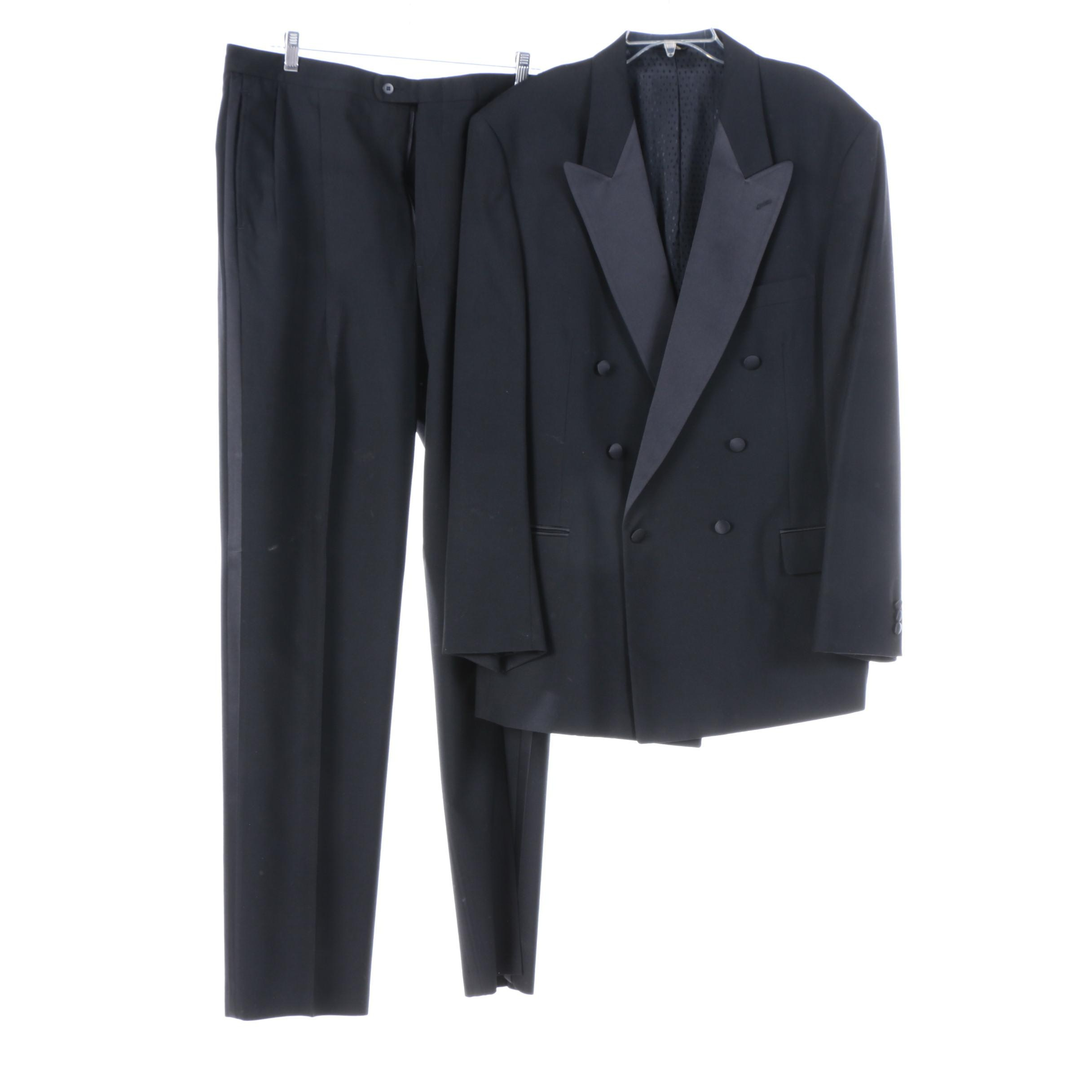 Men's Bachrach Black Wool Double-Breasted Tuxedo Coat and Pants