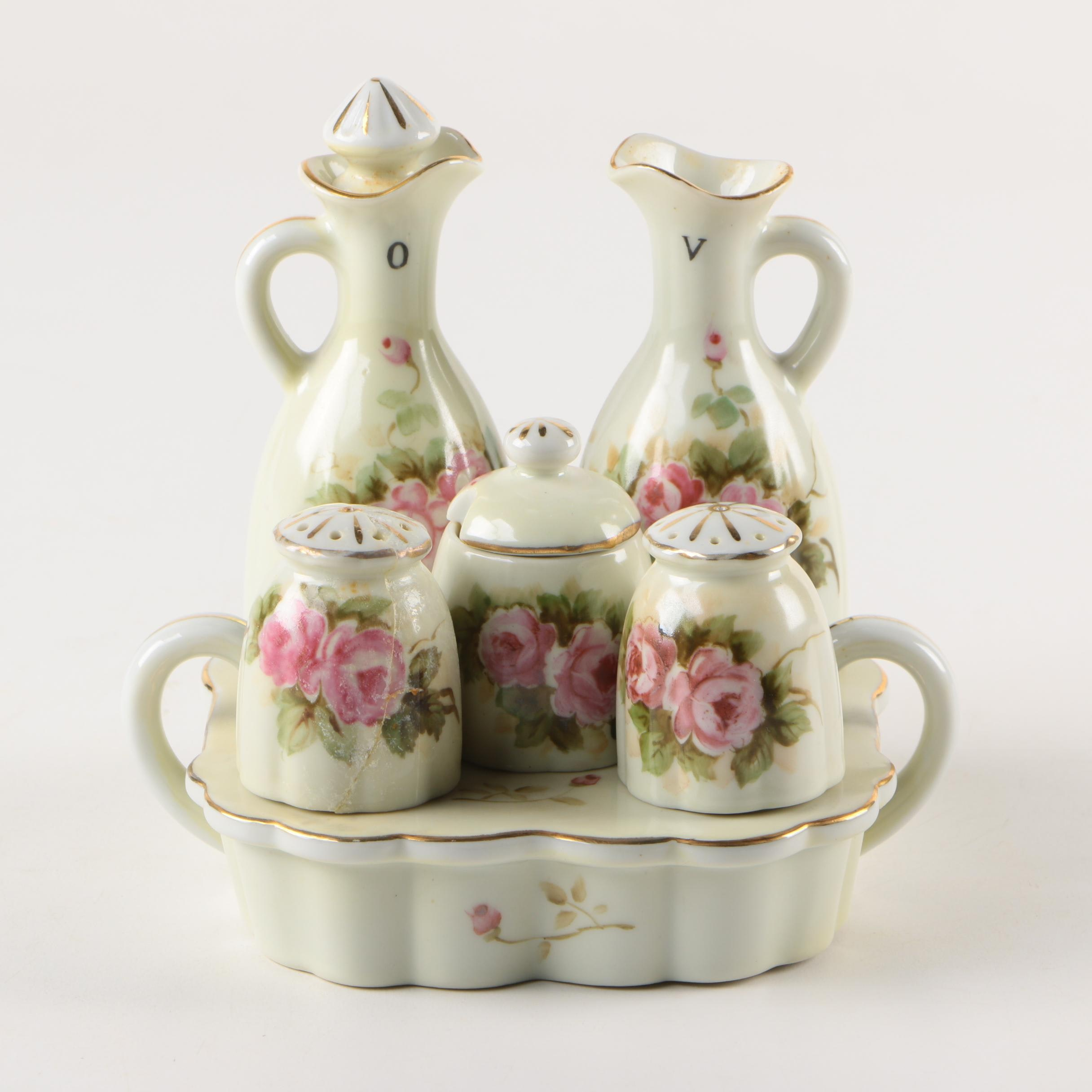 Vintage Occupied Japan Hand-Painted Porcelain Cruet Set