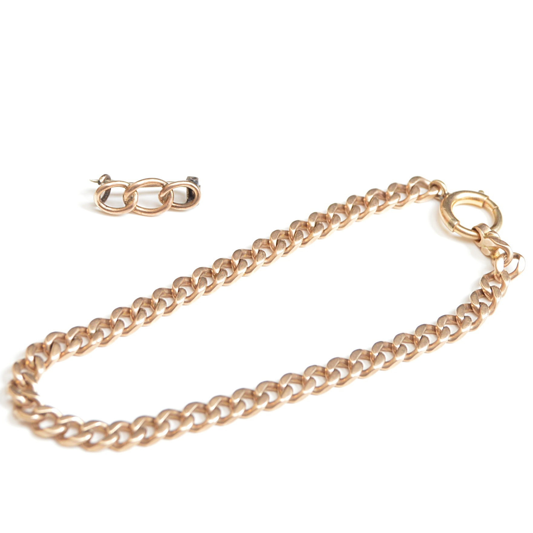 10K Yellow Gold Chain Bracelet and Link Brooch