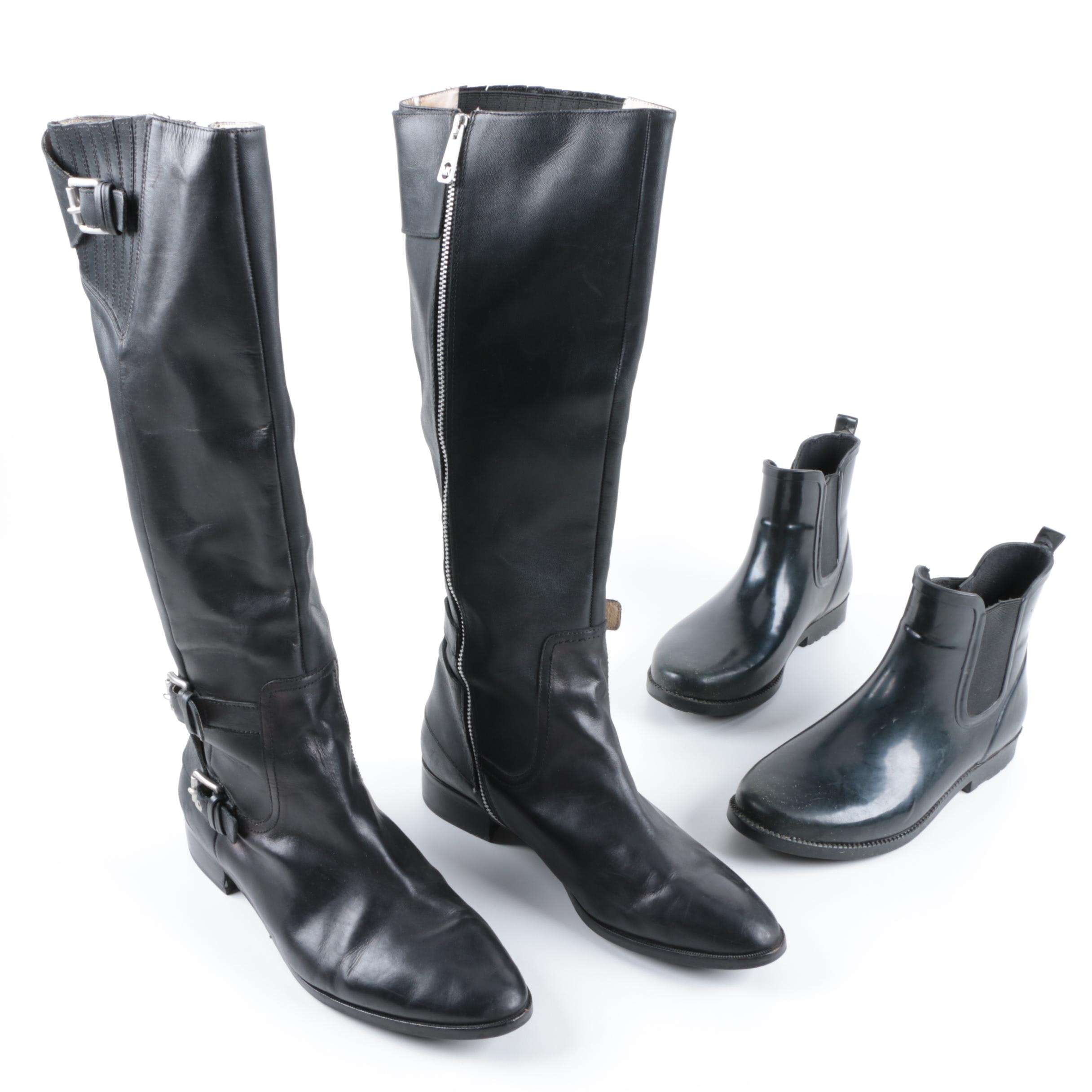 Michael Michael Kors Black Leather Tall Boots and Black Rain Booties