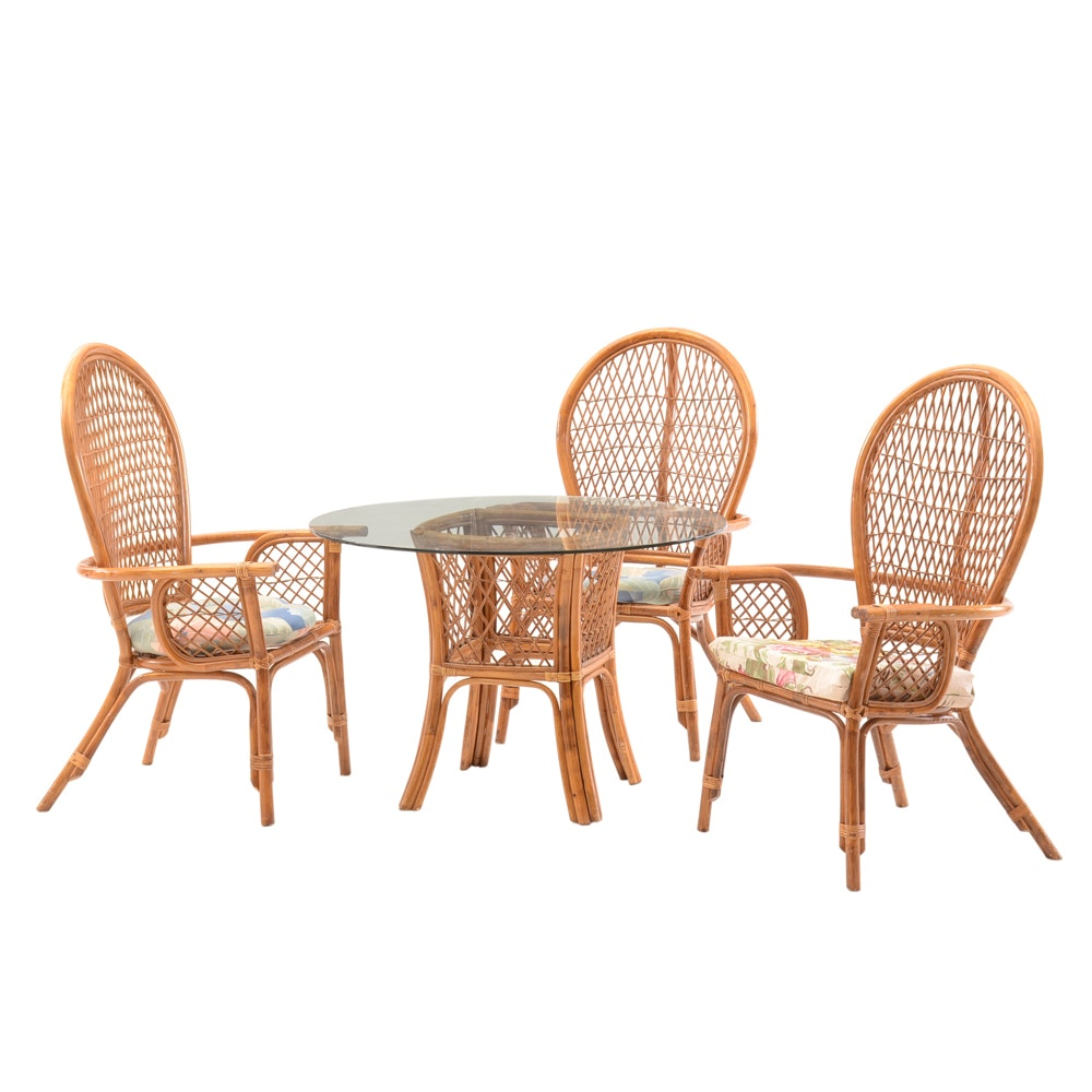 Contemporary Bamboo and Glass Top Dining Set