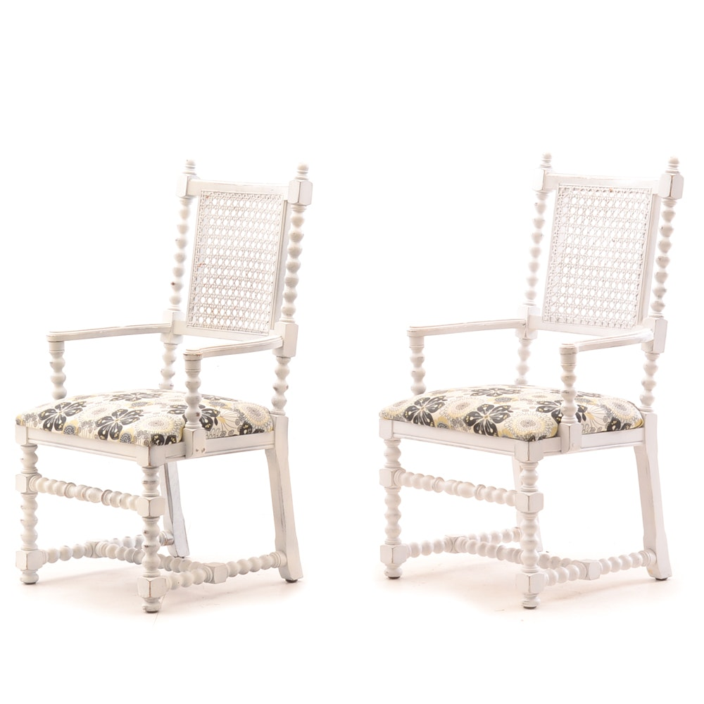 Pair of Vintage Wicker Back Armchairs