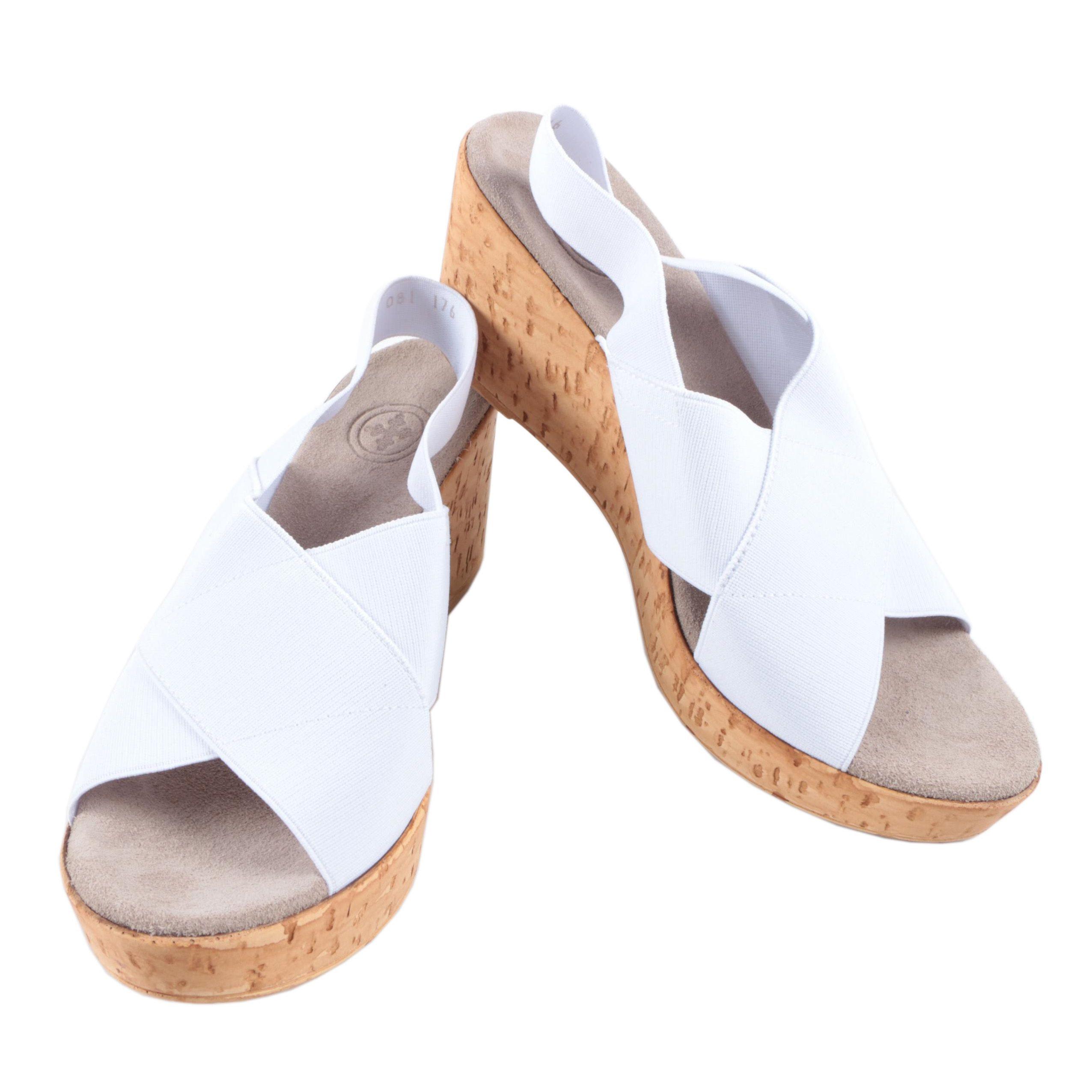 Charleston Shoe Co. White Cork Wedge Sandals