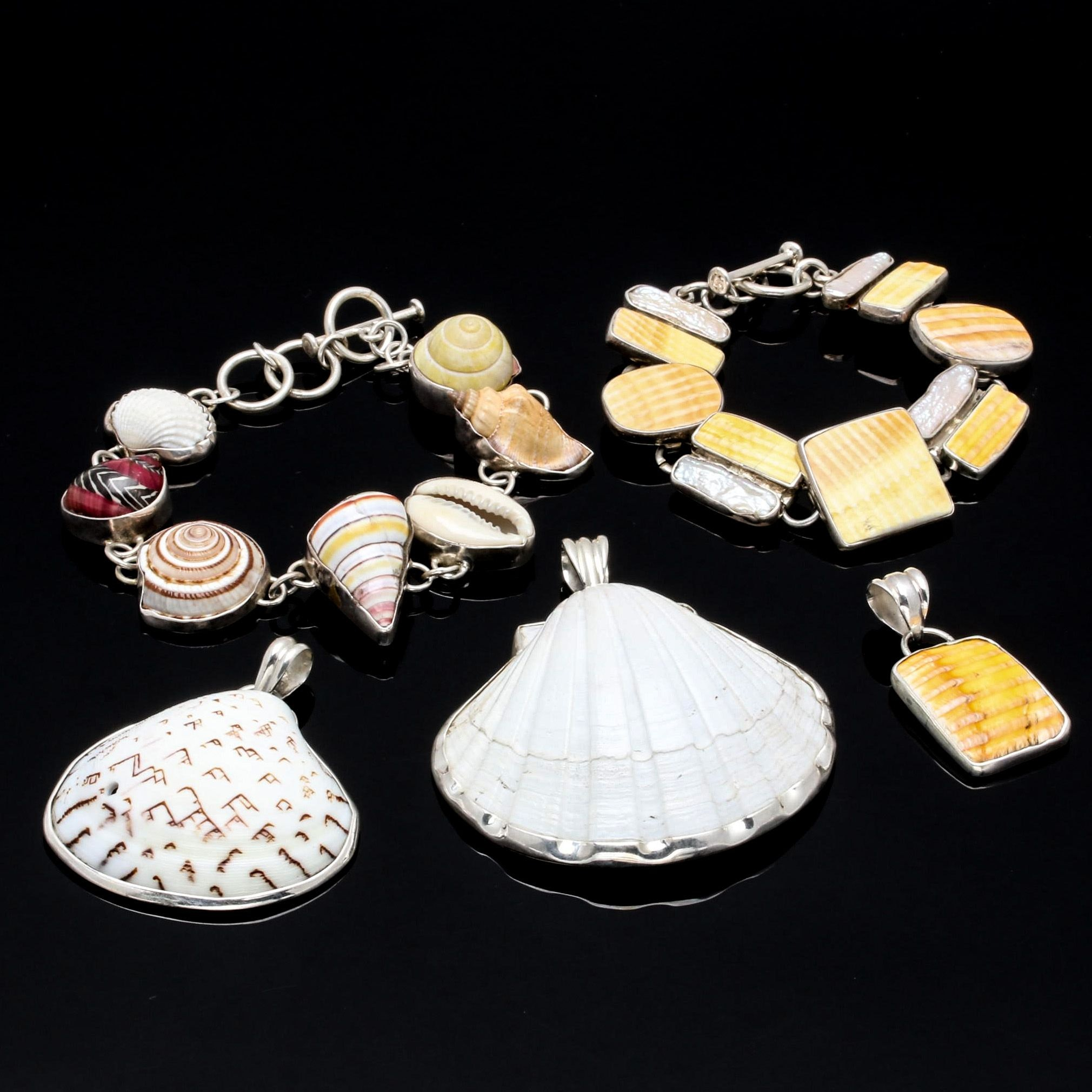 Sterling Silver Shell and Keishi Cultured Pearl Bracelet and Pendant Selection