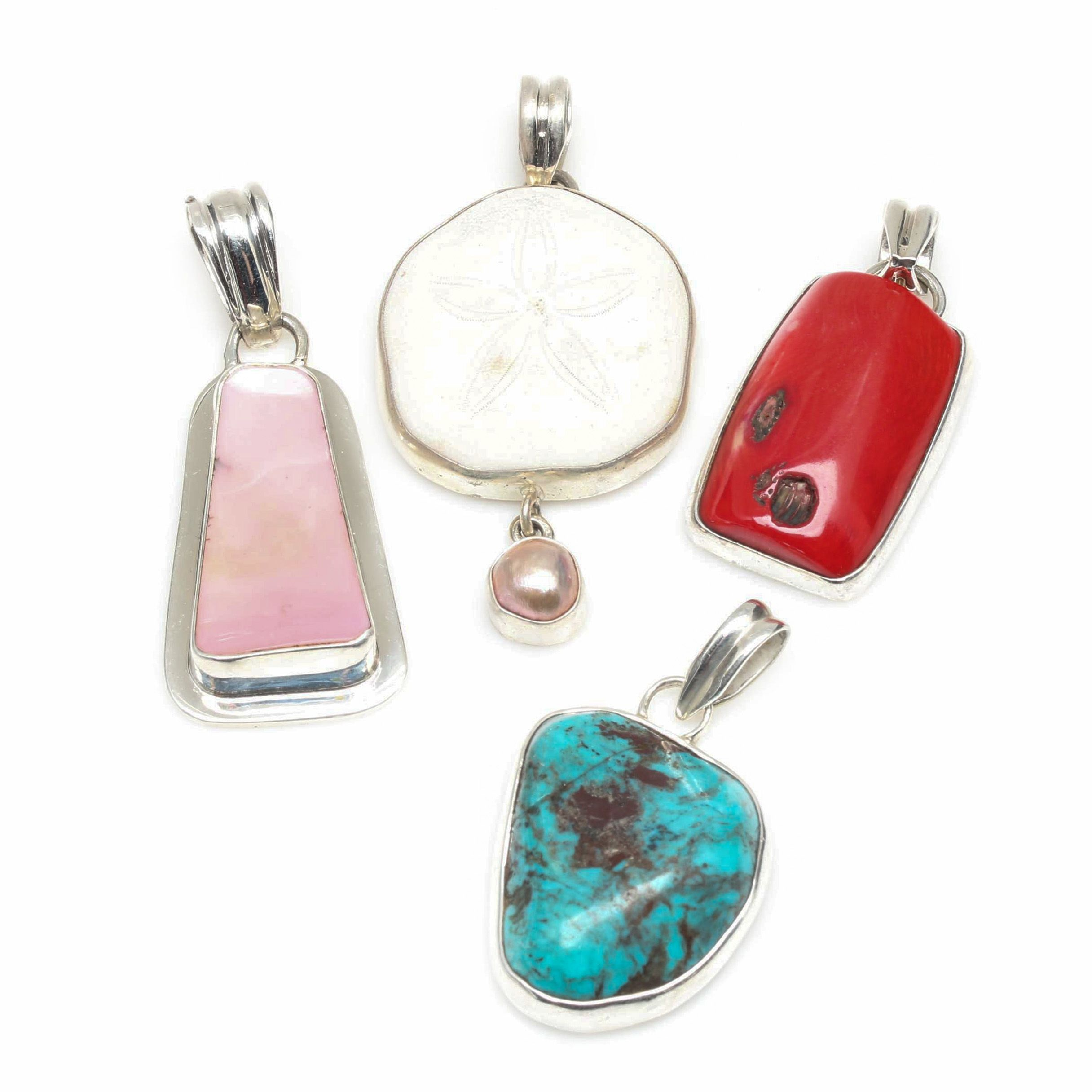 Sterling Silver Sand Dollar, Dyed Coral, and Turquoise Pendant Selection