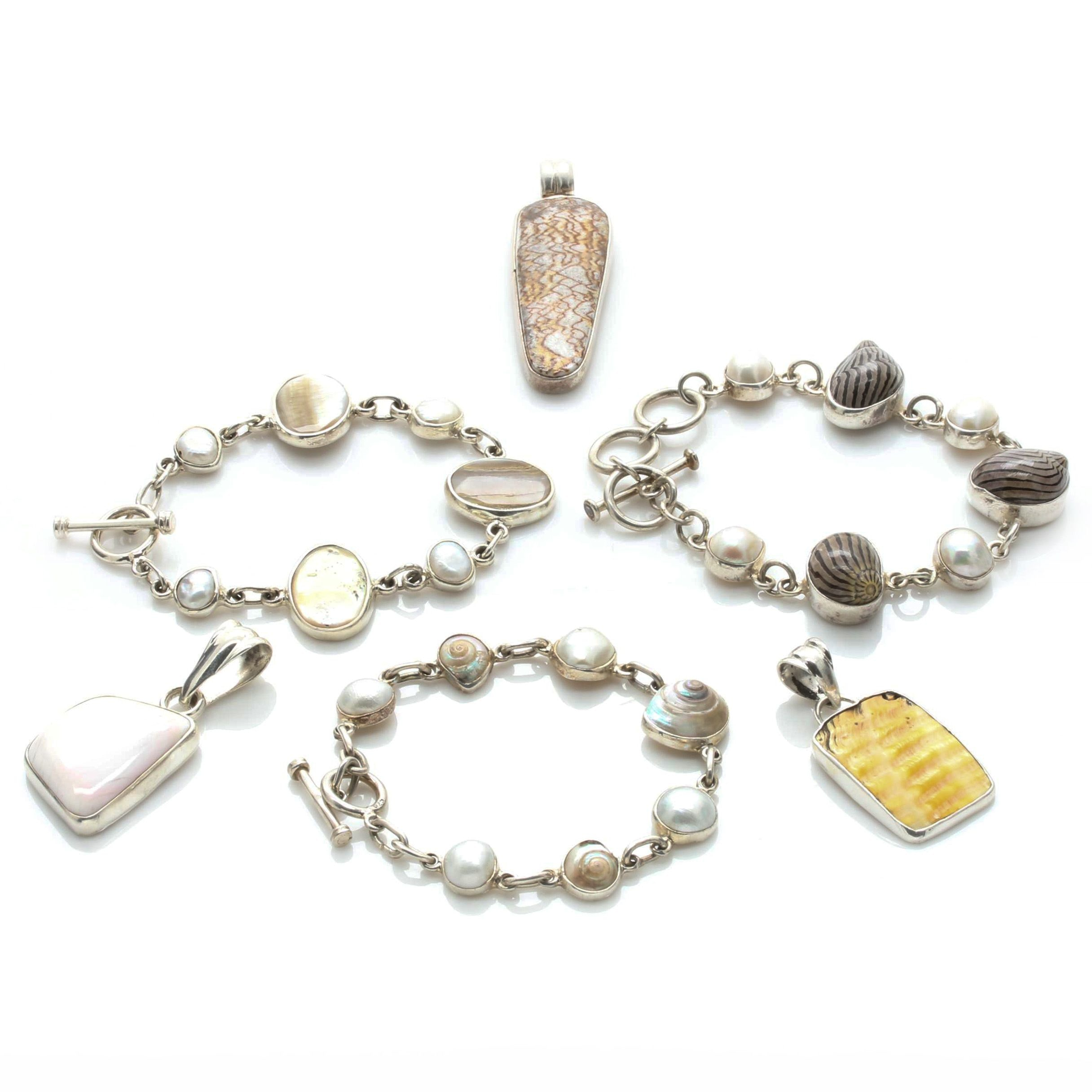 Sterling Silver Cultured Pearl and Shell Bracelet and Pendant Selection