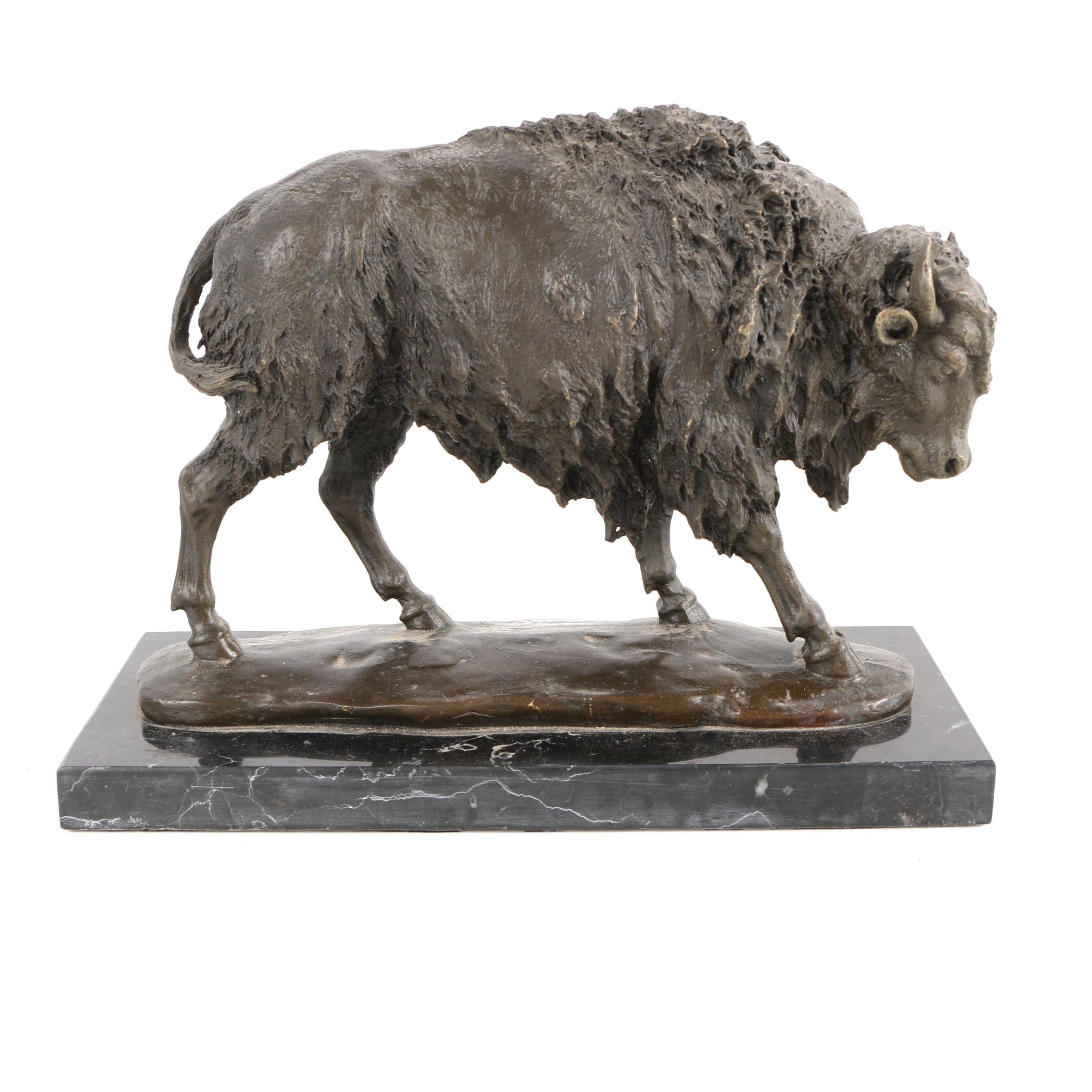 Brass Sculpture After Milo of a Bison