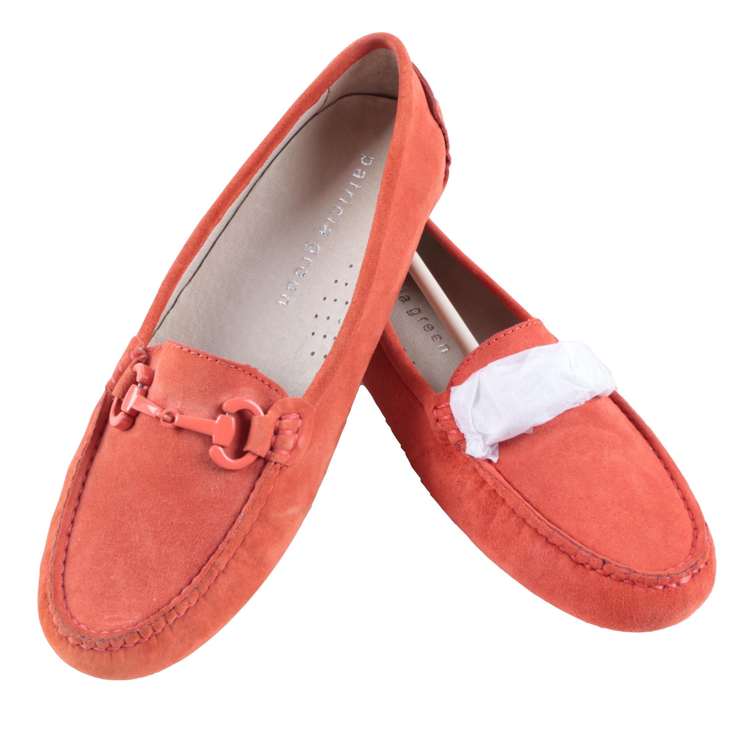 Patricia Green Cambridge Coral-Colored Suede Loafers