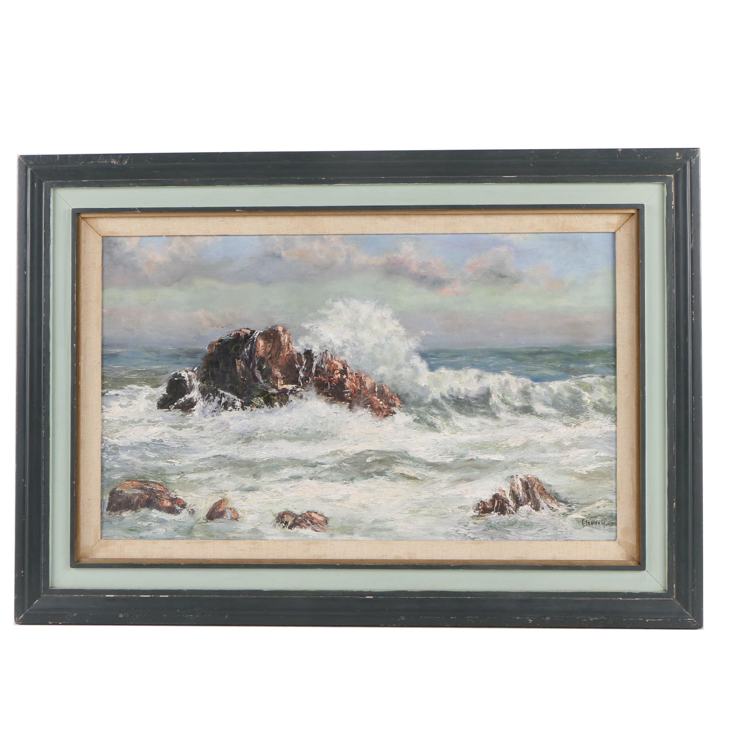 Glenna H. 1964 Oil Painting of Crashing Waves