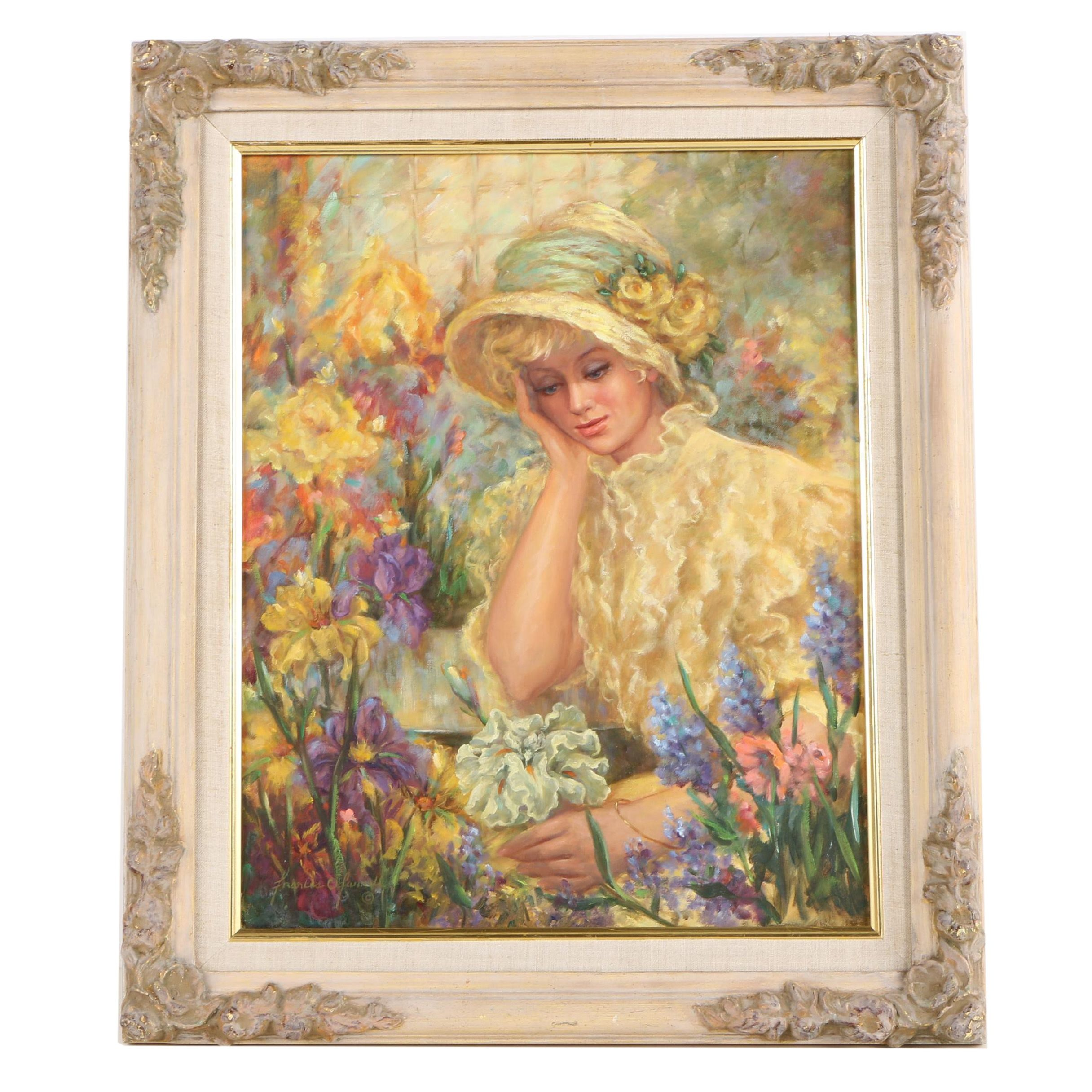 Francis O'Farrell Oil Painting Portrait of Woman in Flower Garden