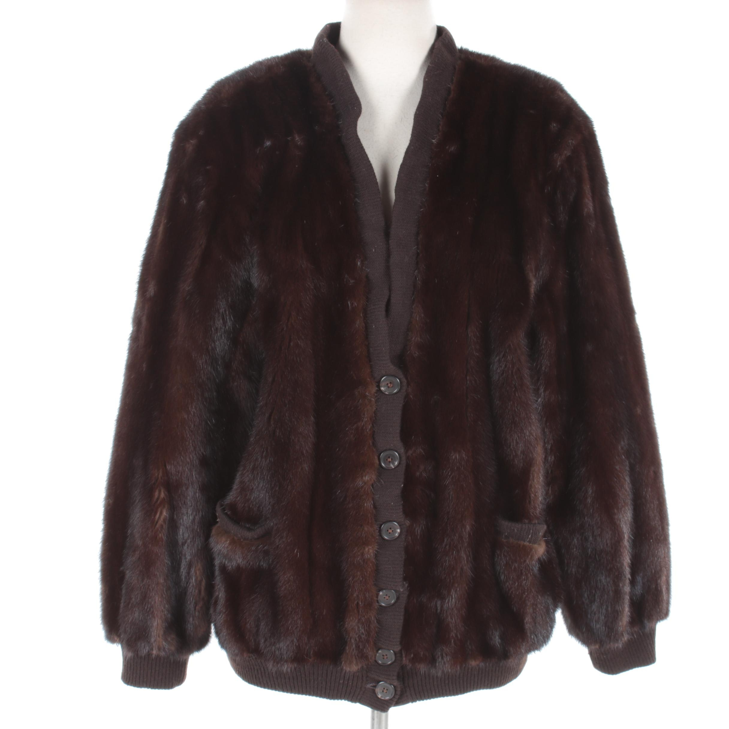 Birger Christensen Mink Fur and Knit Button Front Jacket