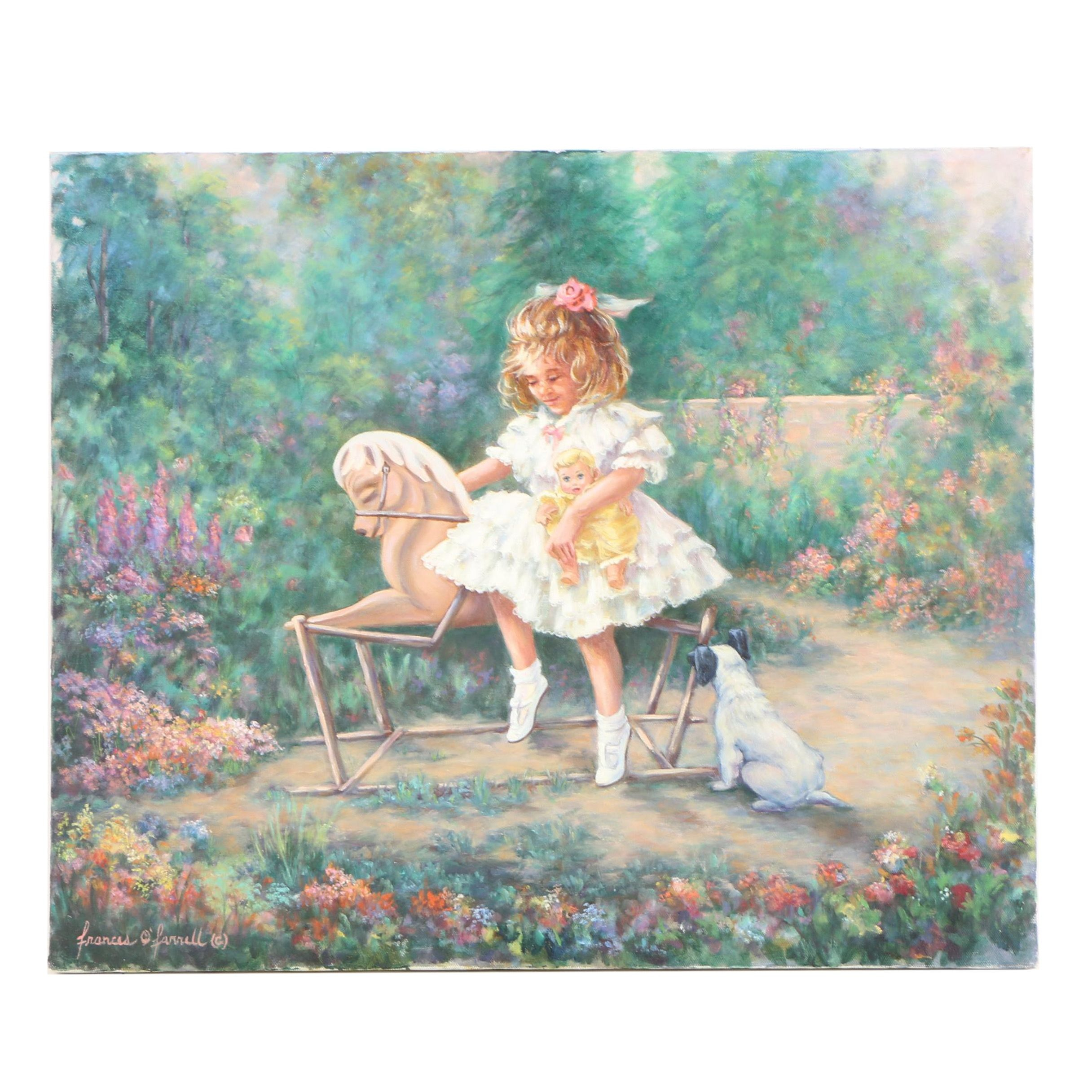 Frances O'Farrell Oil Painting of Child on Rocking Horse