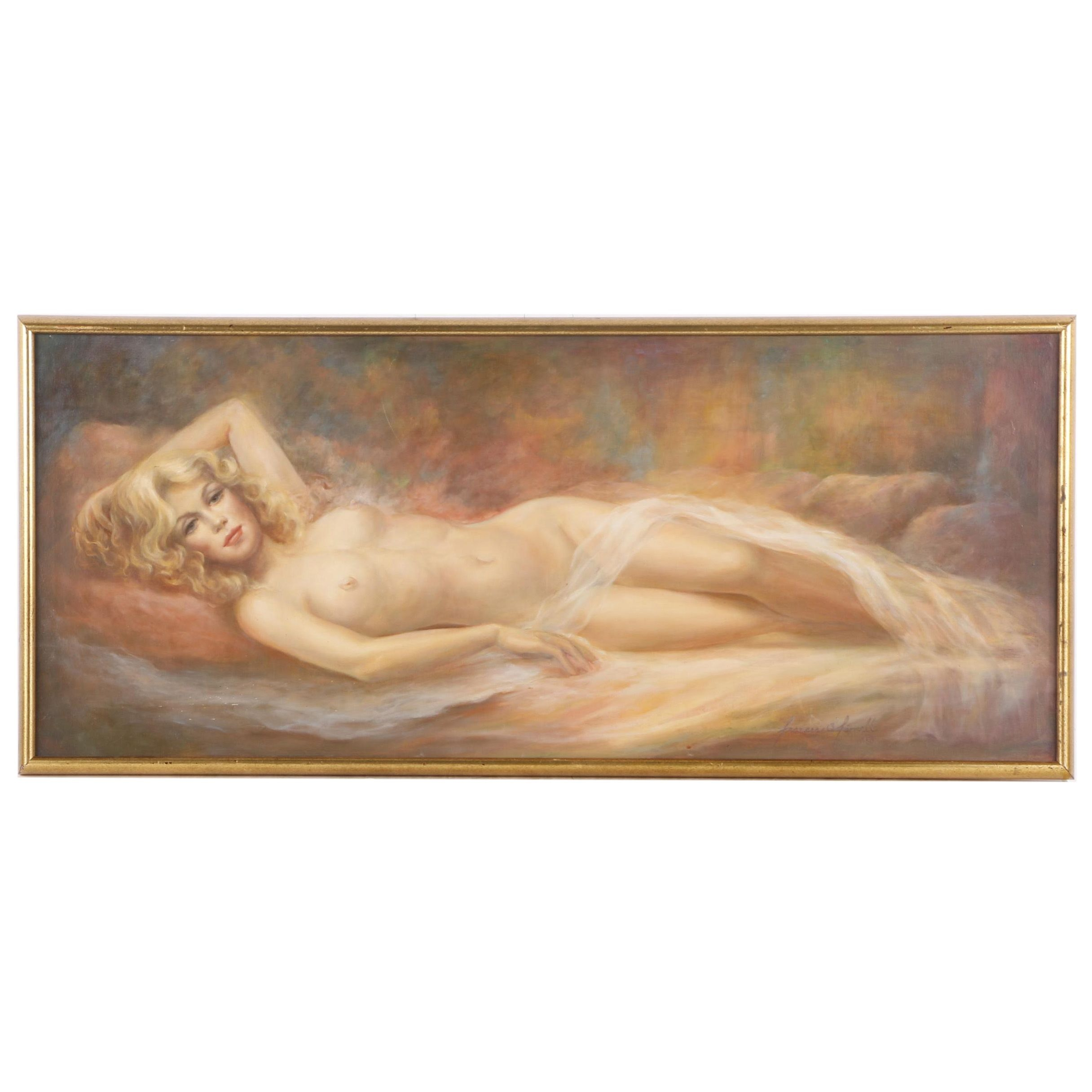 Frances O'Farrell Oil Painting of Reclining Nude