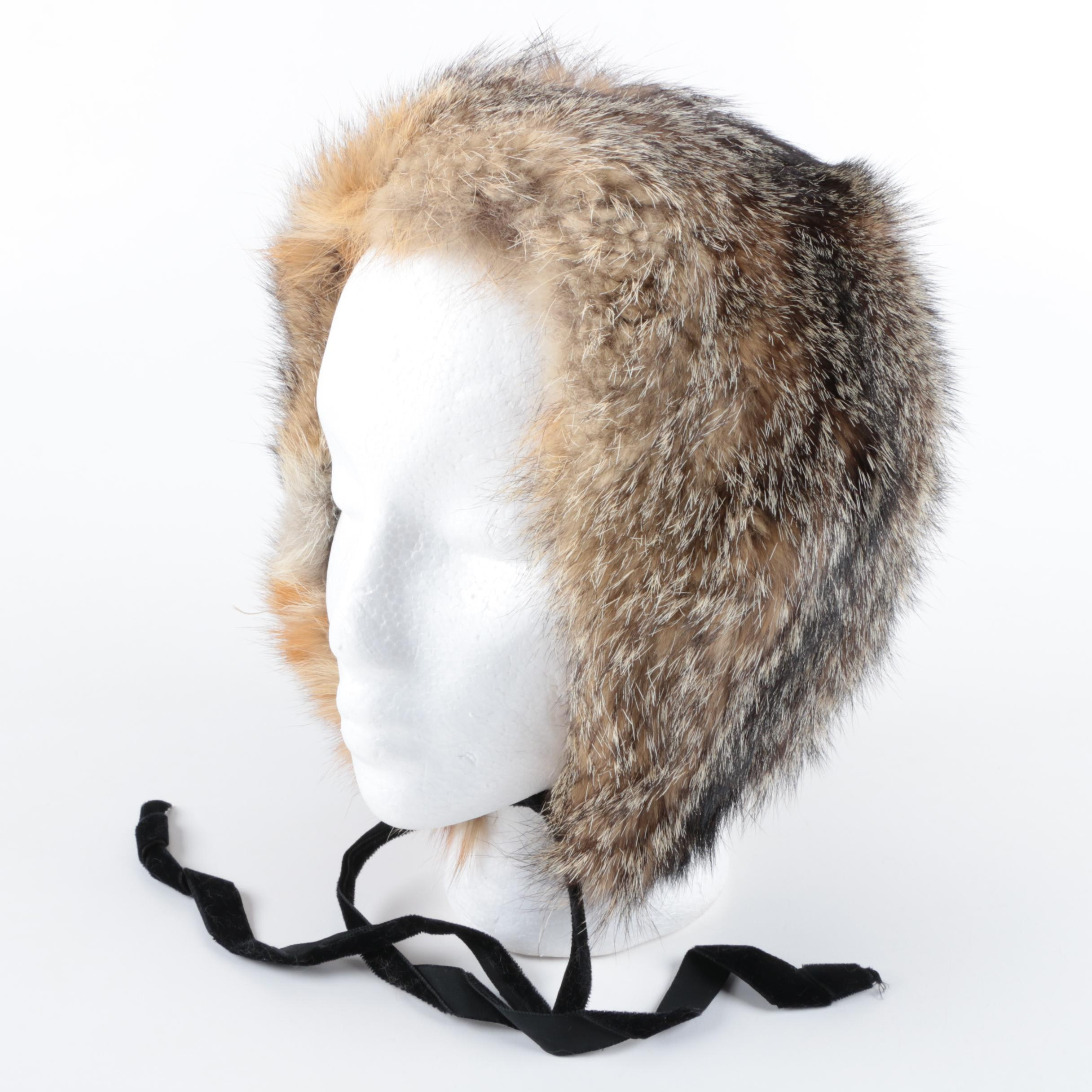 Vintage Gotham L.S. Ayres & Co. Raccoon Fur Hat