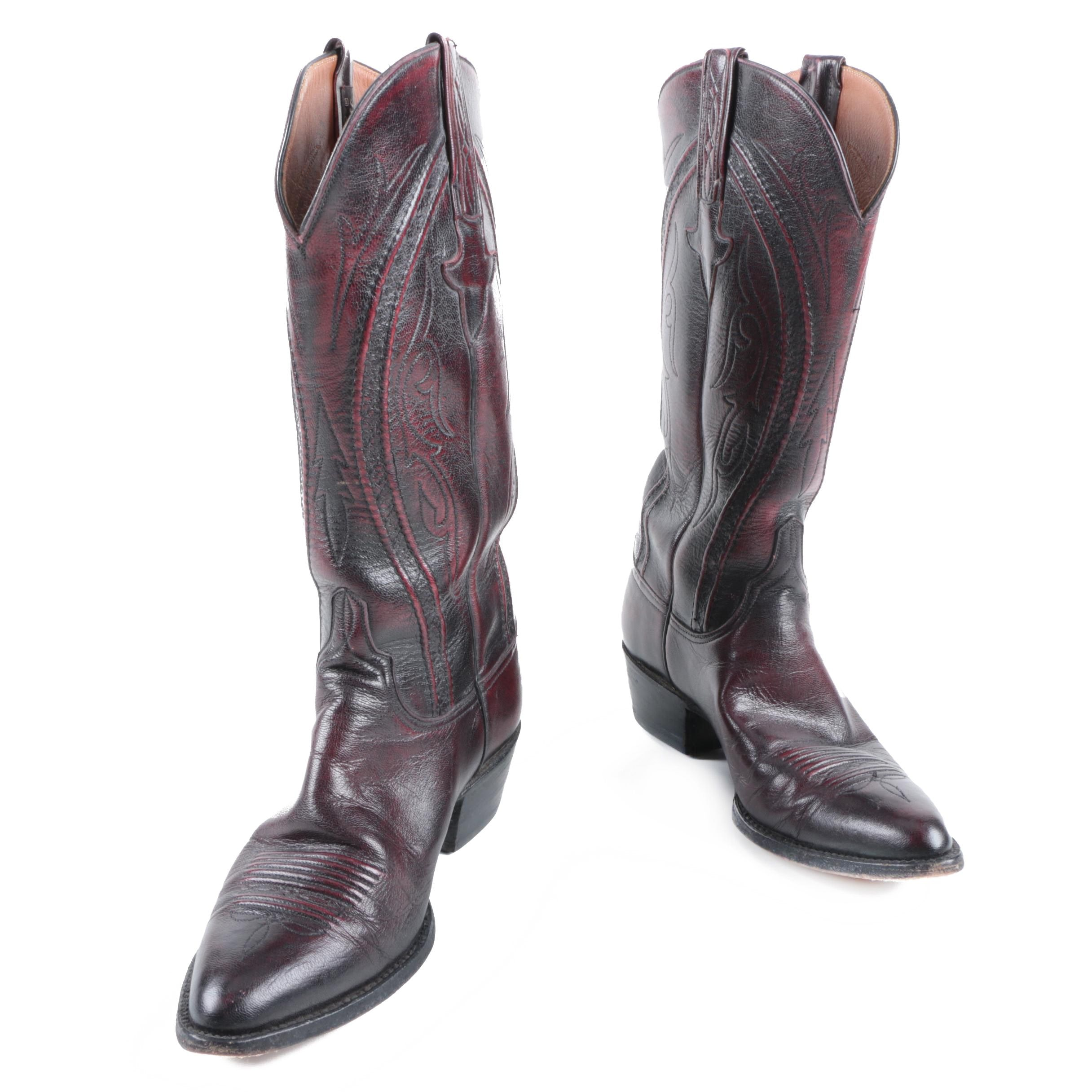 Vintage Lucchese Black Cherry Goat Leather Western Boots