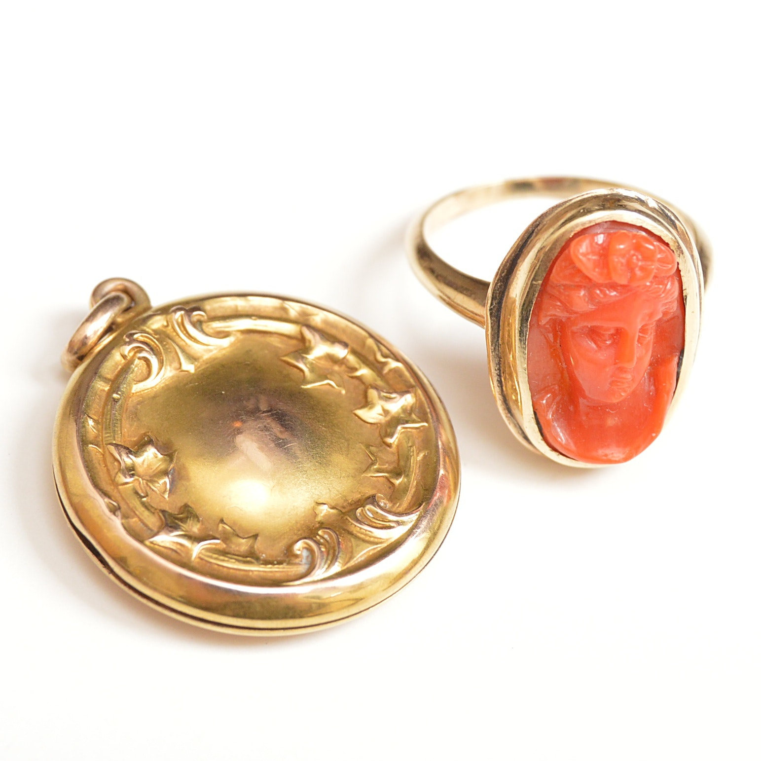 Victorian 10K Yellow Gold and Coral Ring and Art Nouveau 10K Yellow Gold Locket