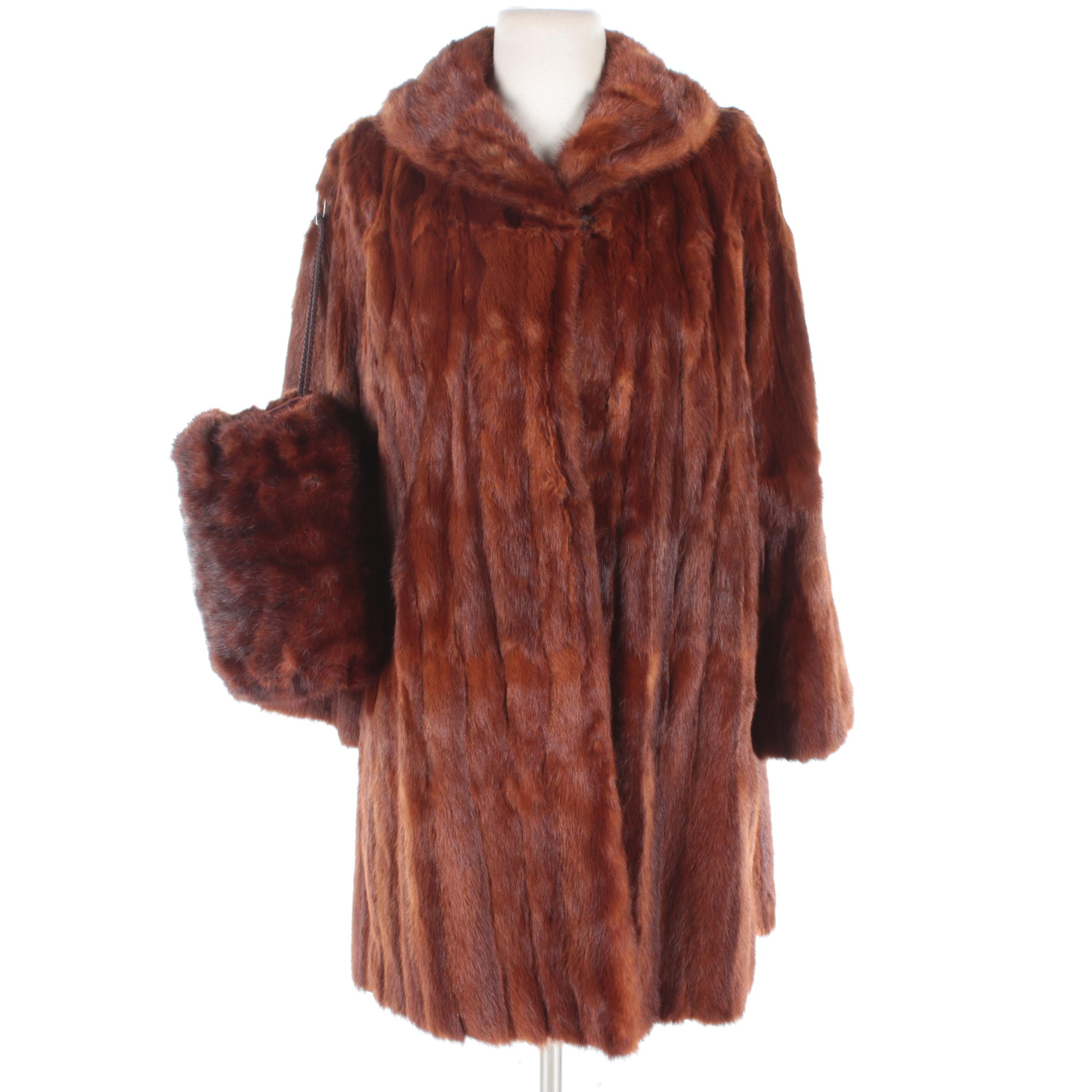 Vintage Dyed Squirrel Fur Coat and Muskrat Fur Muff