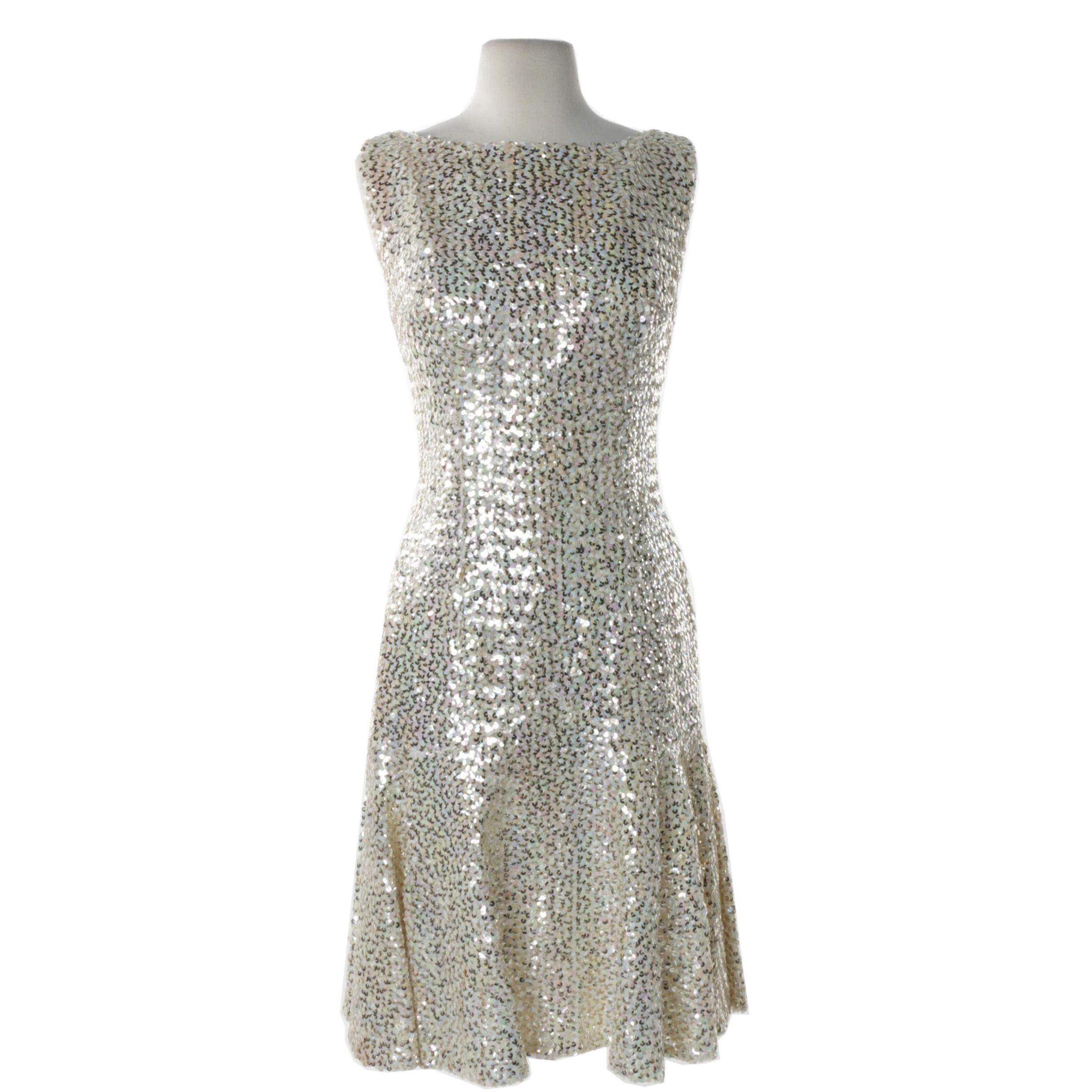 Circa 1960s Vintage Sequined Cocktail Dress