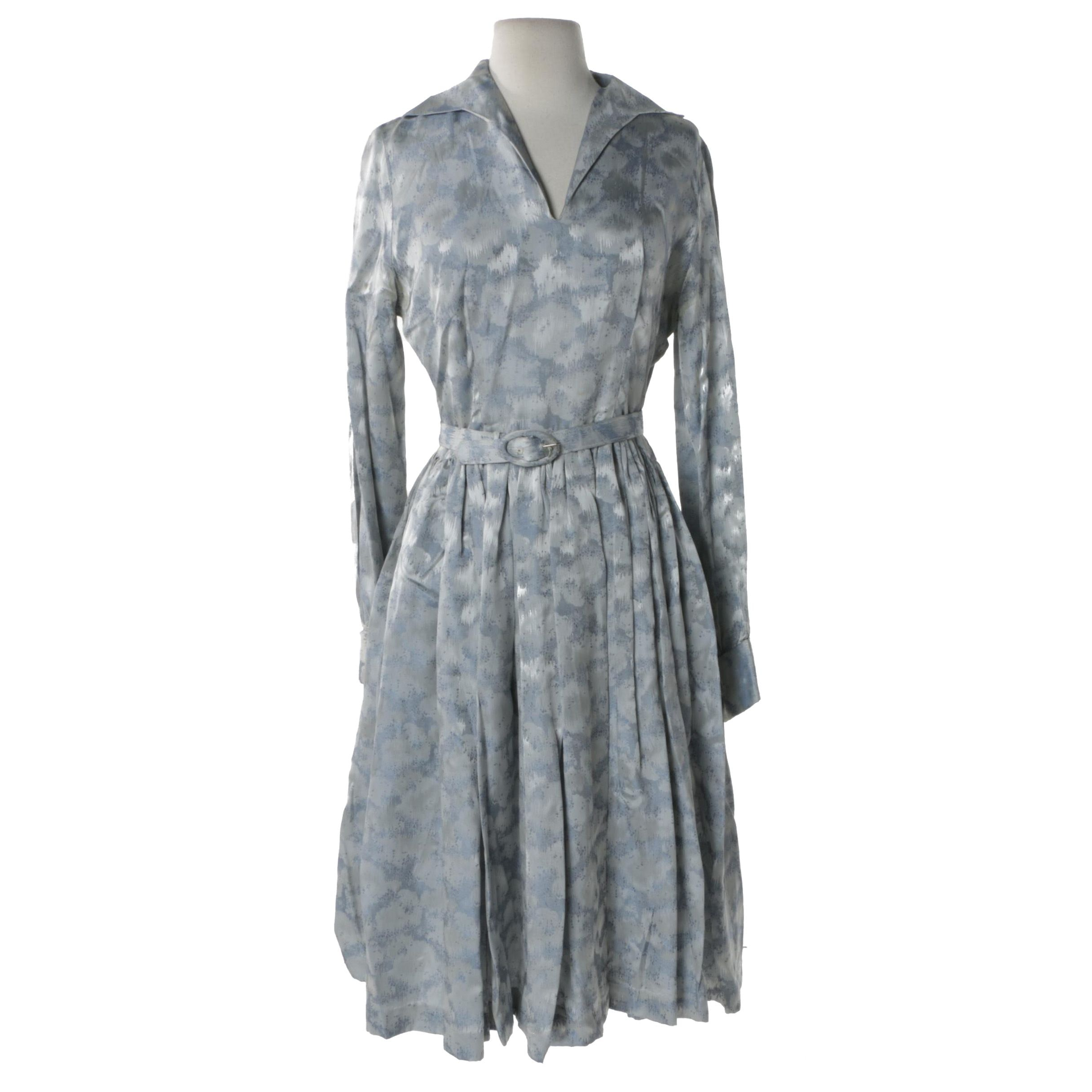 Circa 1950s Vintage Blue Jacquard Belted Dress