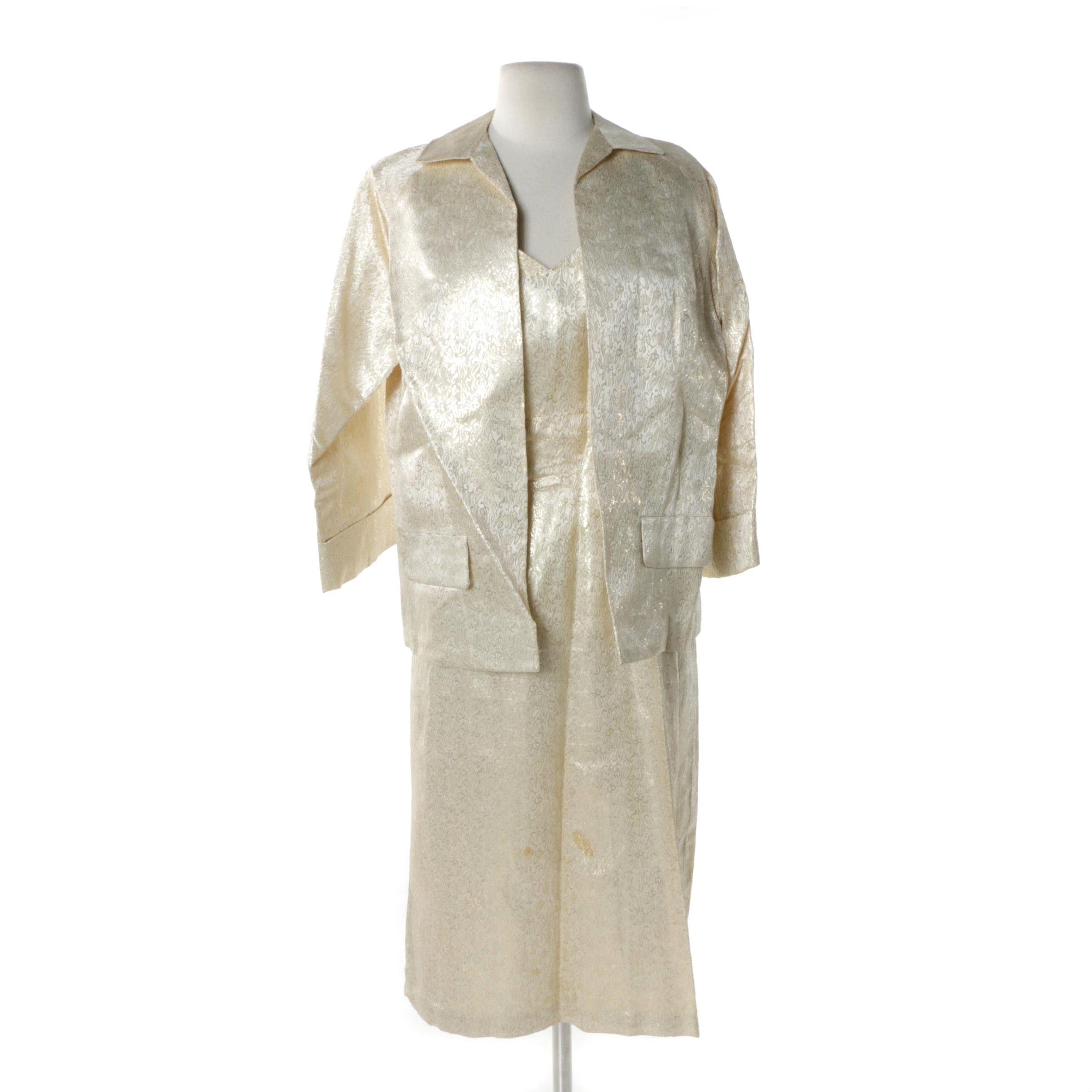 Circa 1950s Vintage Metallic Brocade Cocktail Dress and Jacket