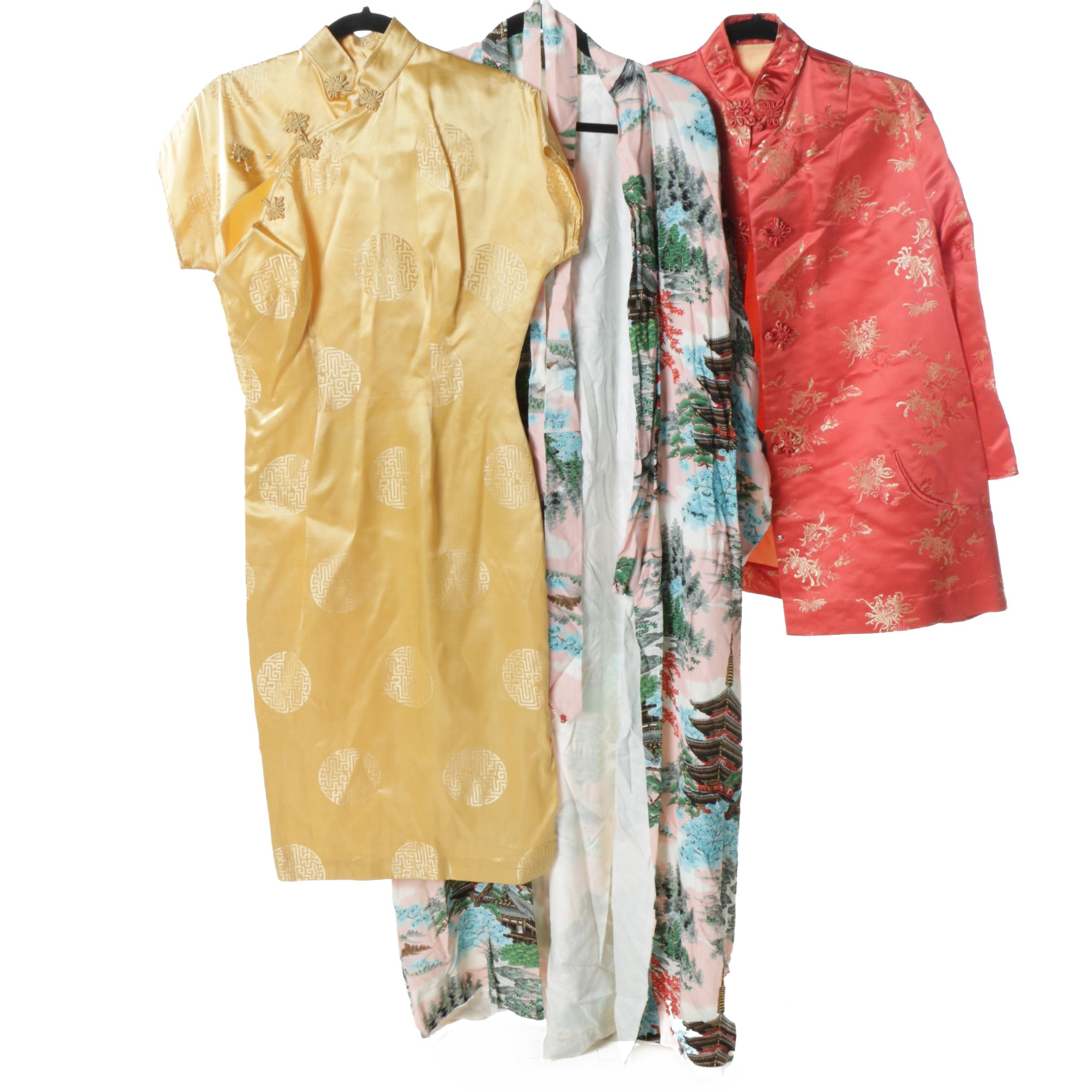 Women's Silk Robe, Embroidered Jacket and Cheongsam Dress