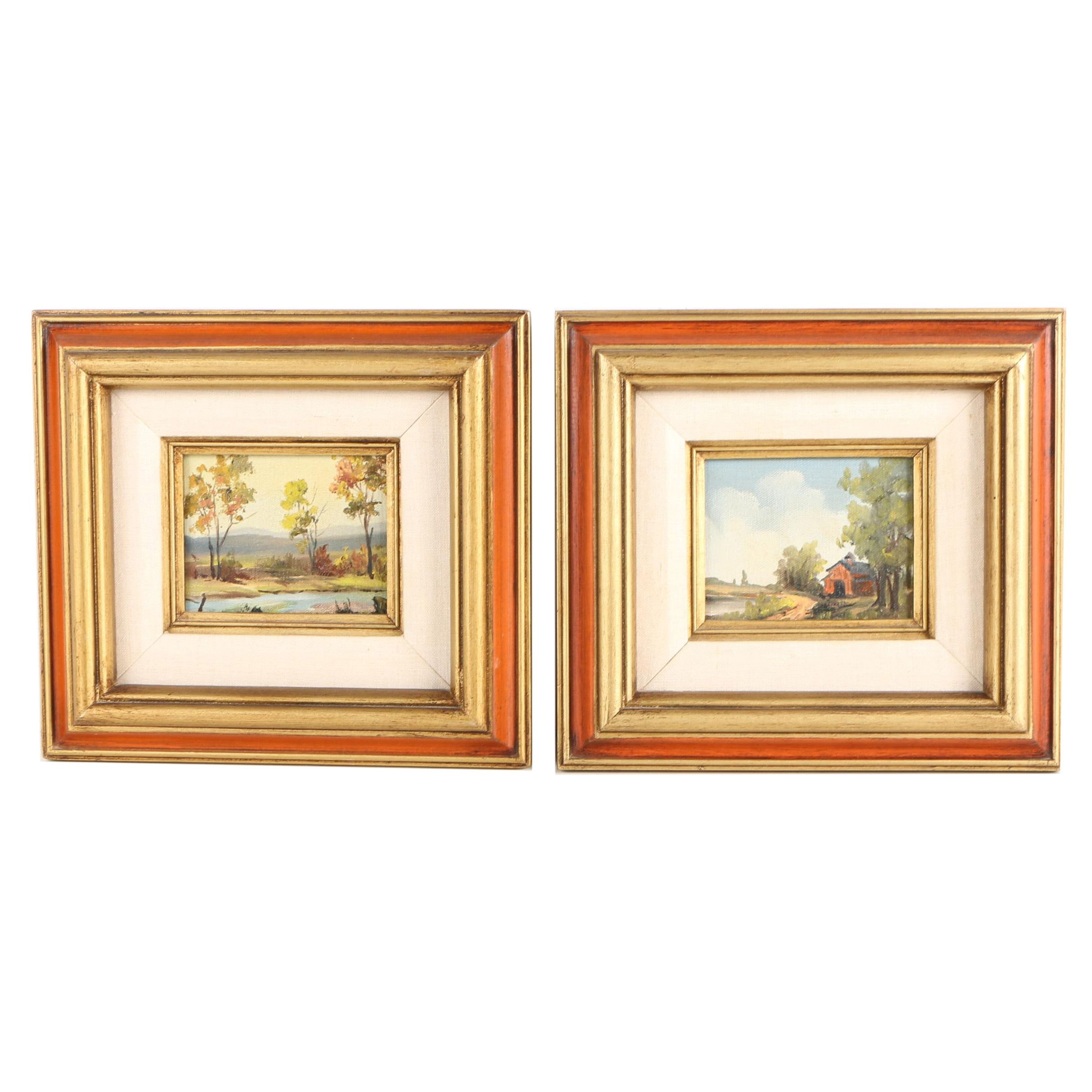 Pair of Oil on Canvas Landscape Paintings