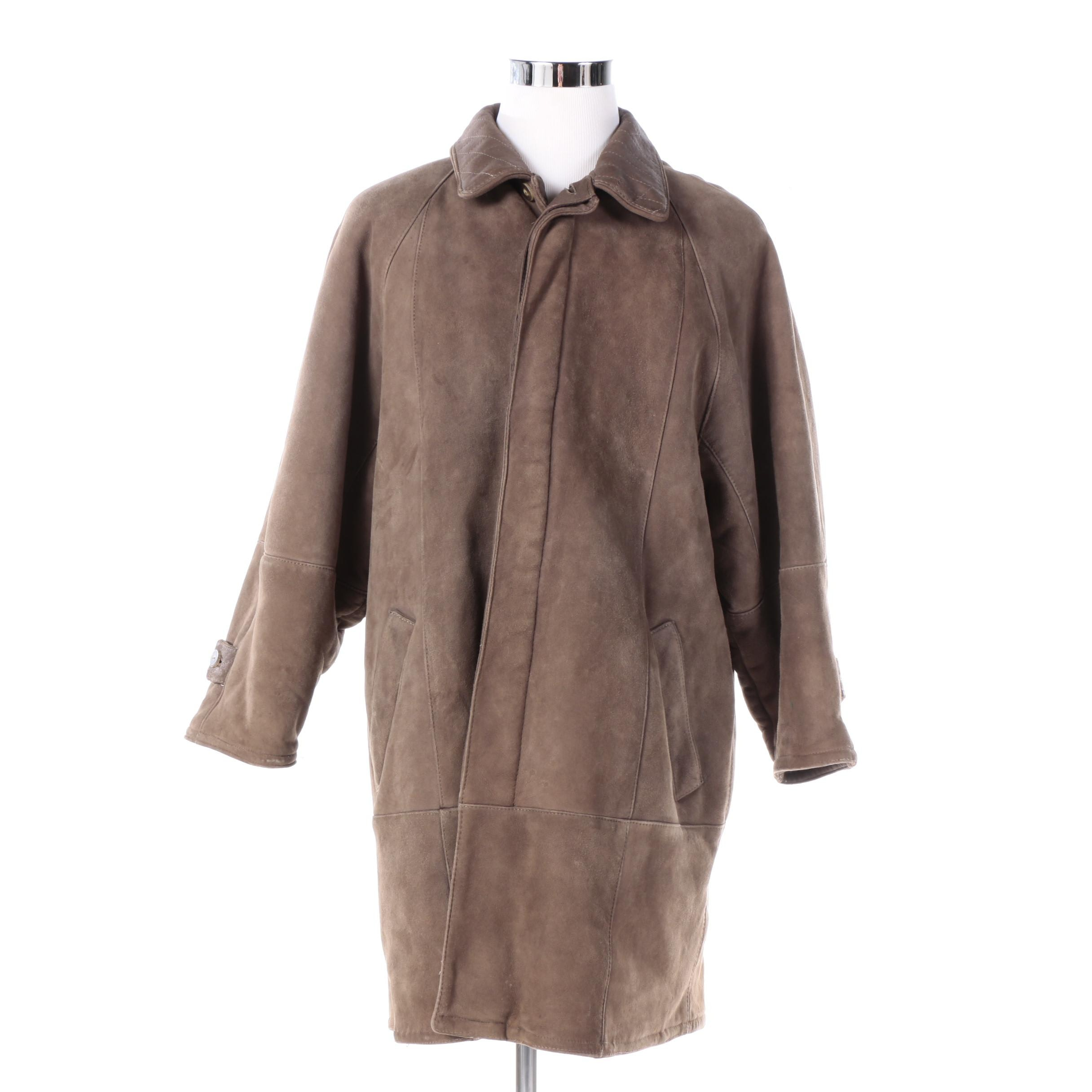 Men's Brown Suede Barn Coat with Lamb Fur Lining