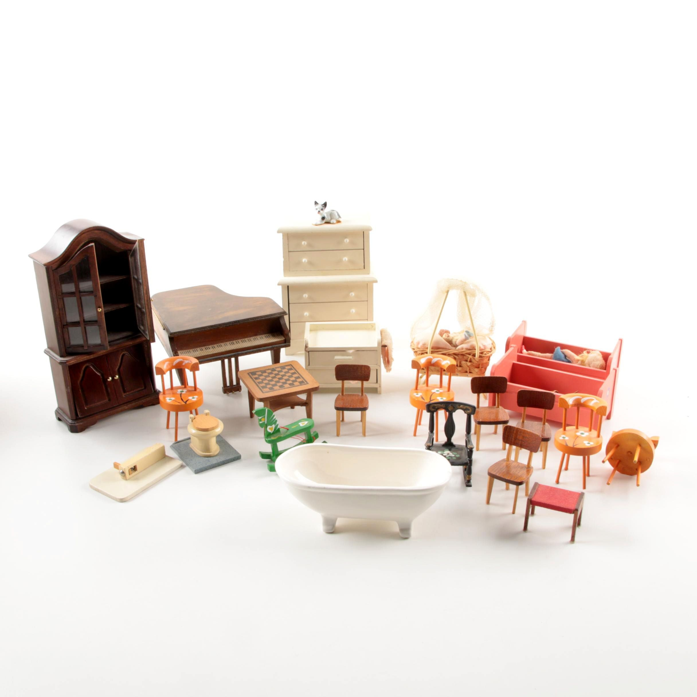 Vintage Wooden Dollhouse Furniture and Music Boxes