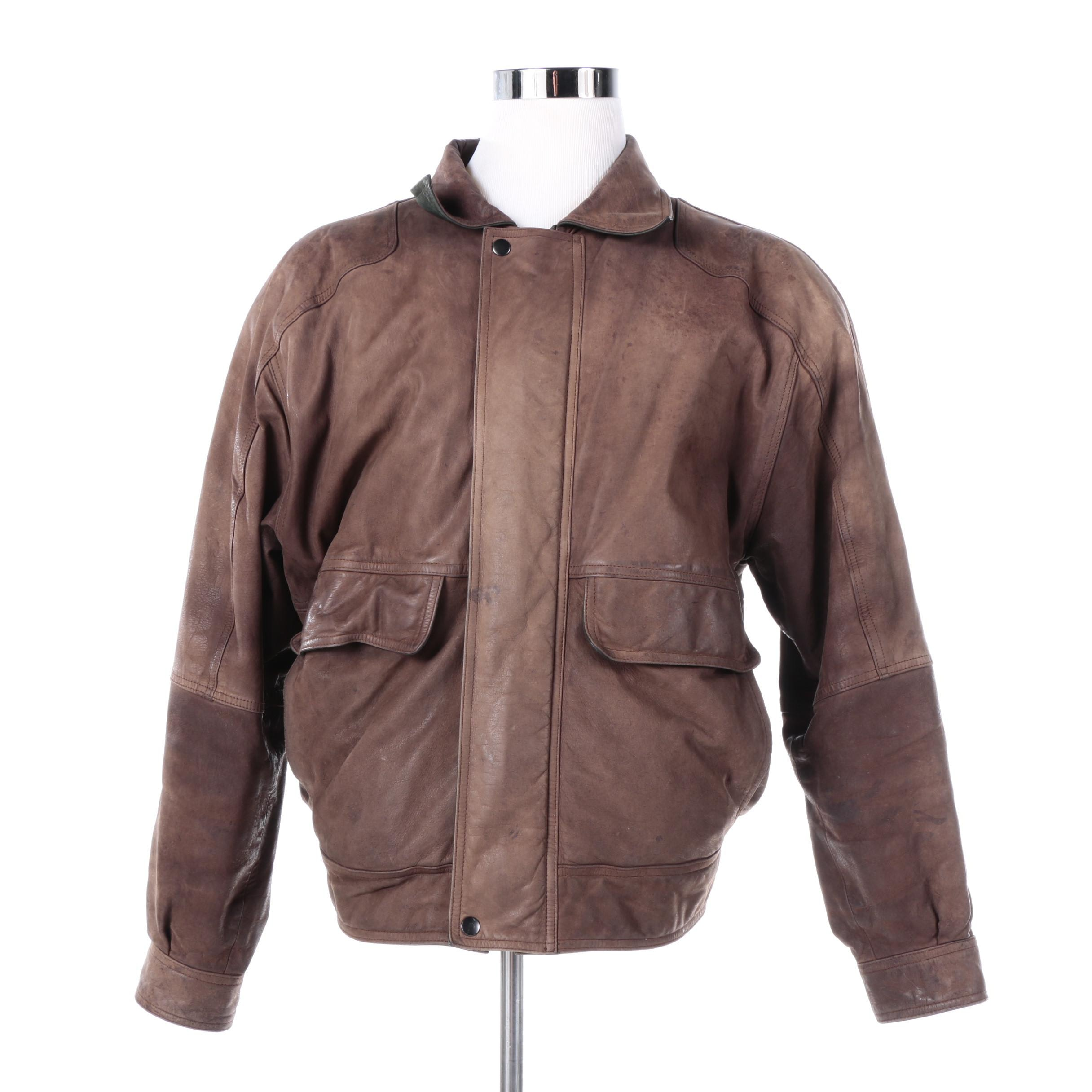 Men's Marc by Andrew Marc Brown Leather Bomber Jacket